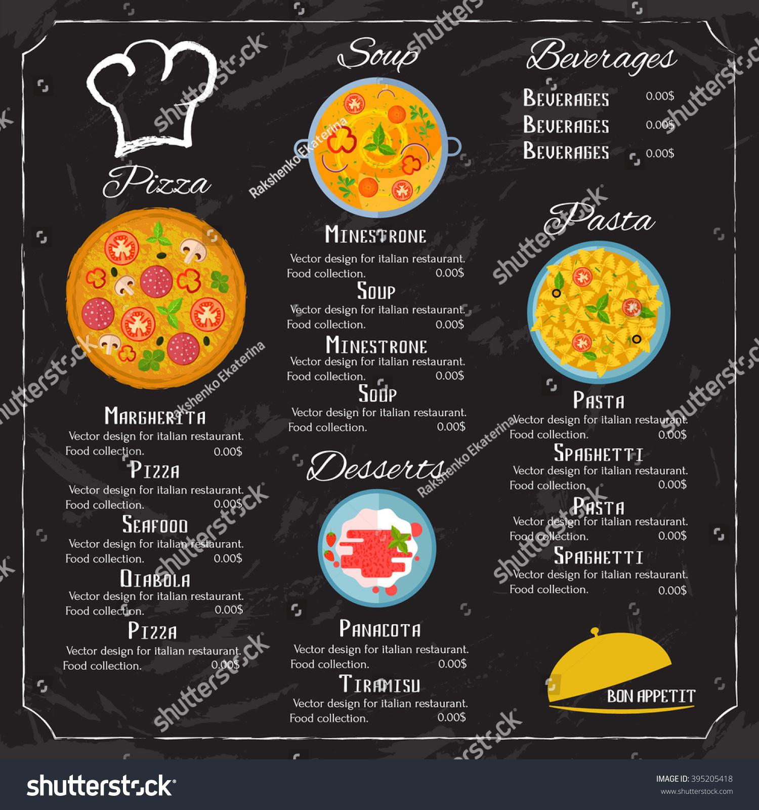 Vector design menu italian restaurant food stock