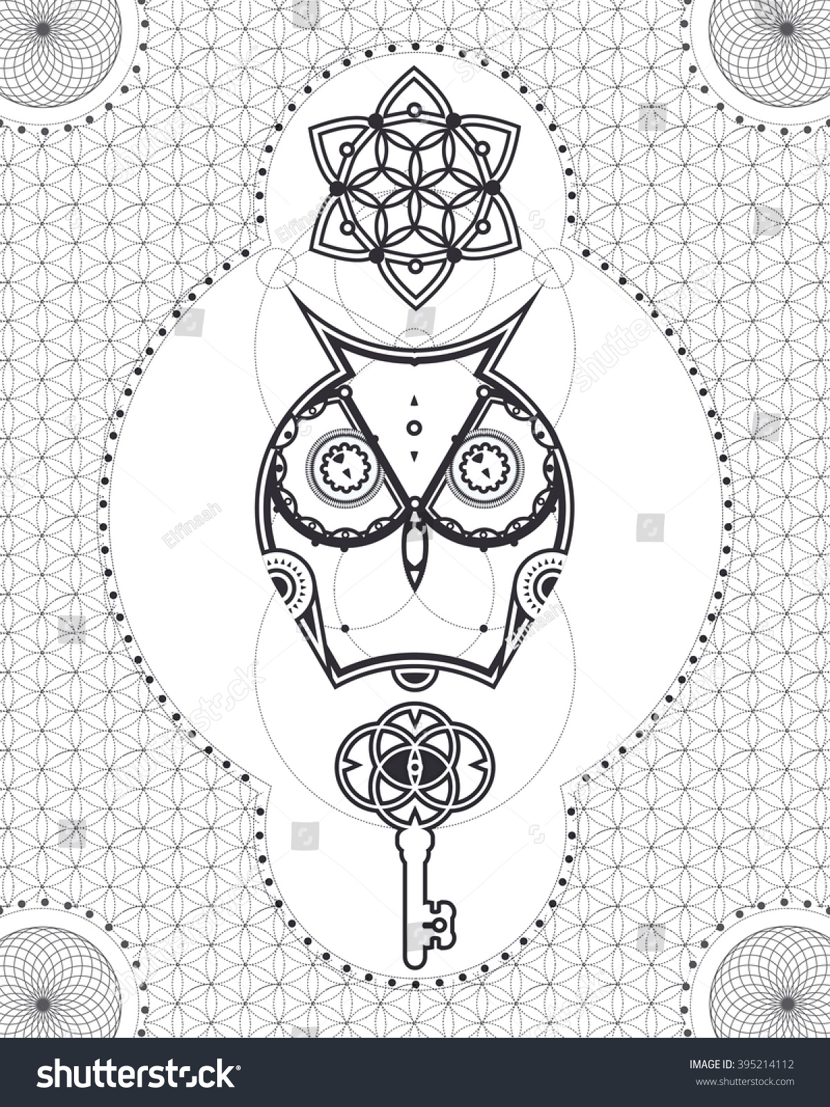 Geometric And Abstract Coloring Page For Adults Owl With Sacred Geometry Mandala Key