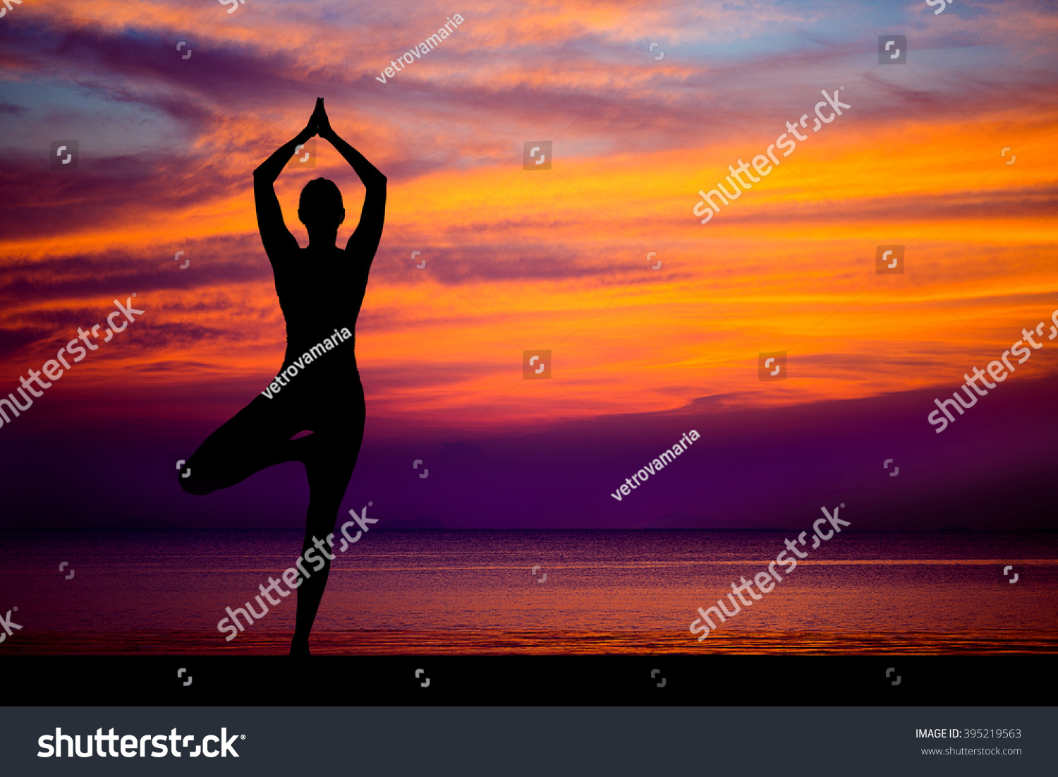 Silhouette Of Woman On The Background Stunning Sea And Sunset Making Yoga Poses
