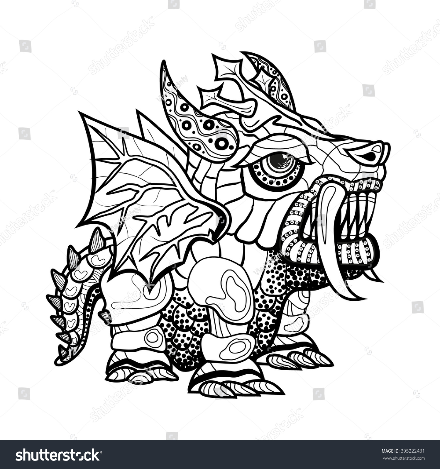 vector hand draw ornamental dragon outline stock vector 395222431