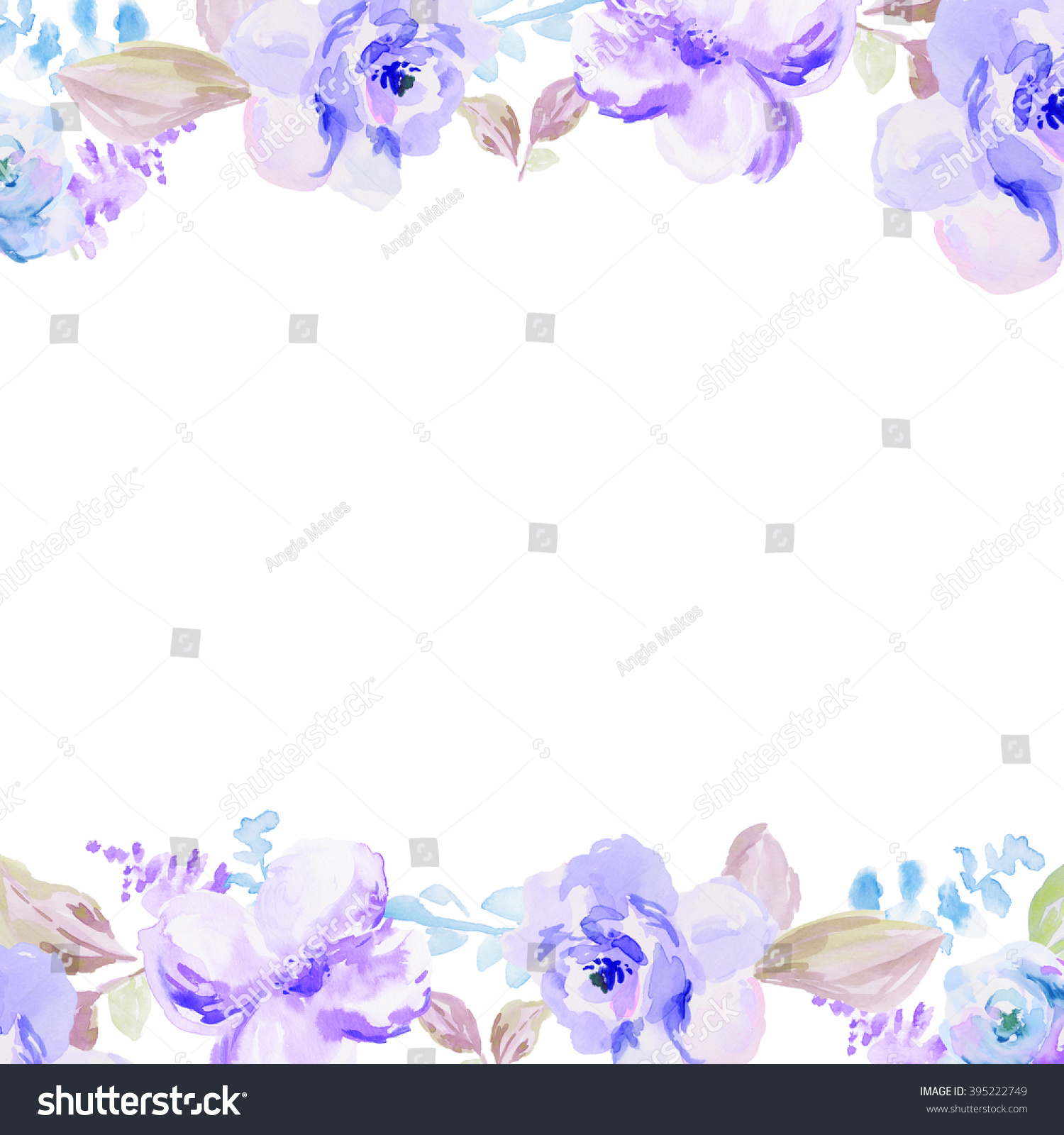 Blue Watercolor Flowers Border 395222749
