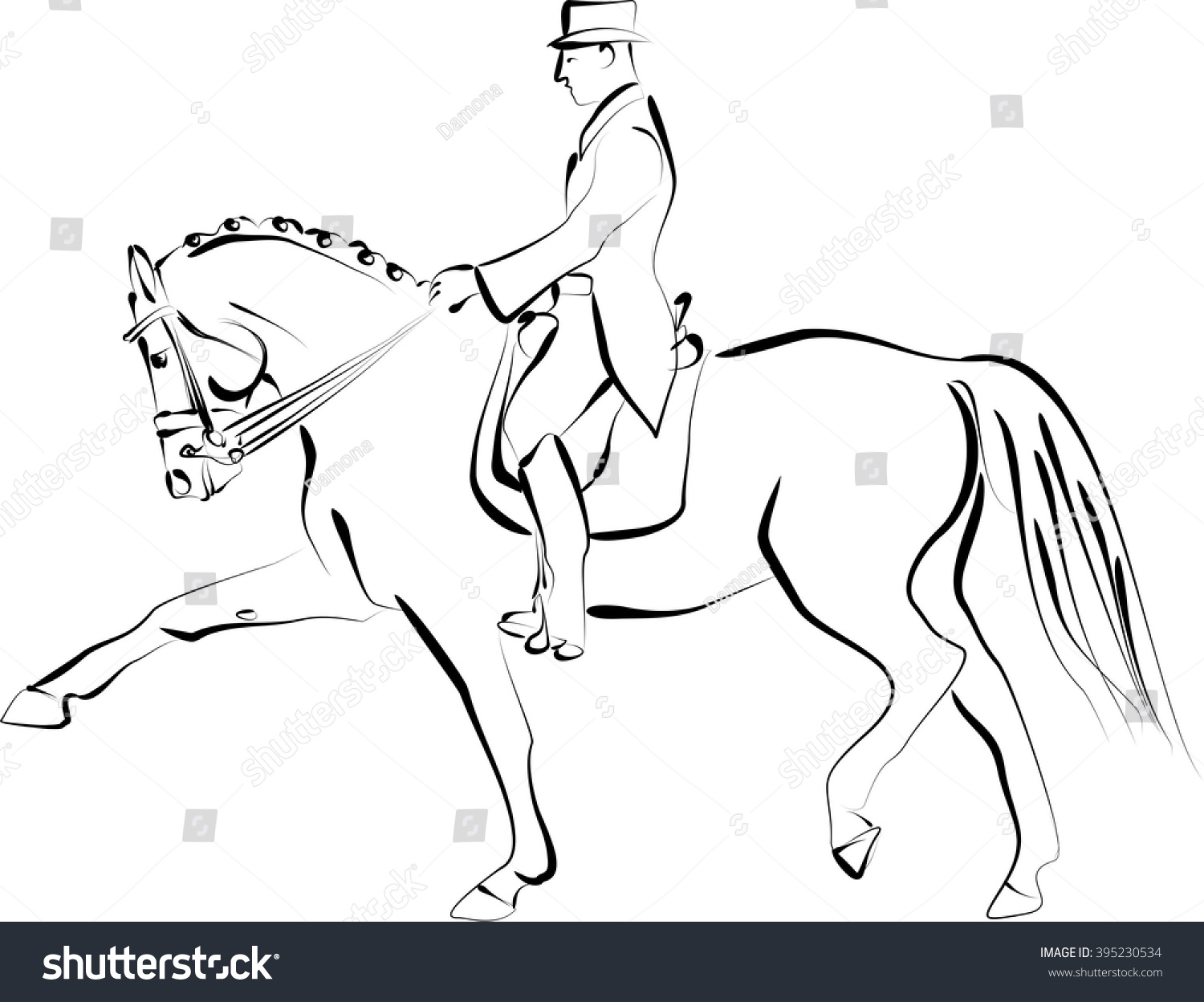 Dressage Horse With A Rider Vector Ilustration