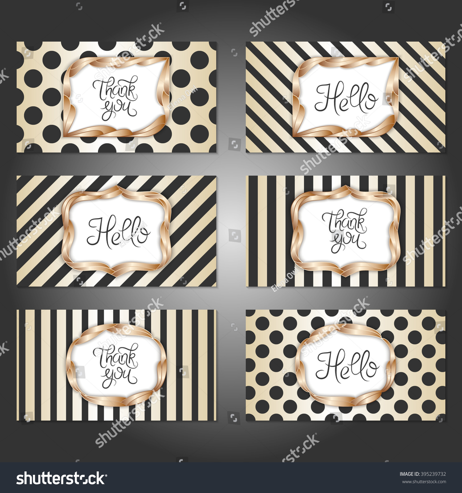 Collection 6 Vintage Card Templates Gold Stock Vector 395239732 ...
