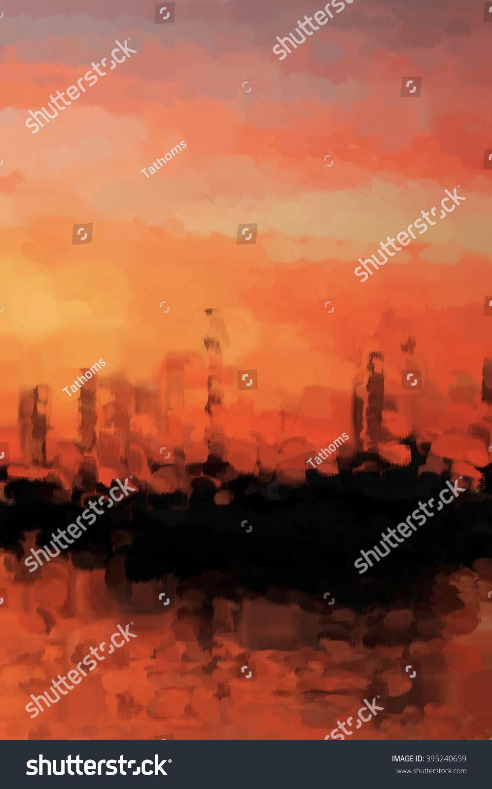 stock-photo-red-evening-marina-abstract-