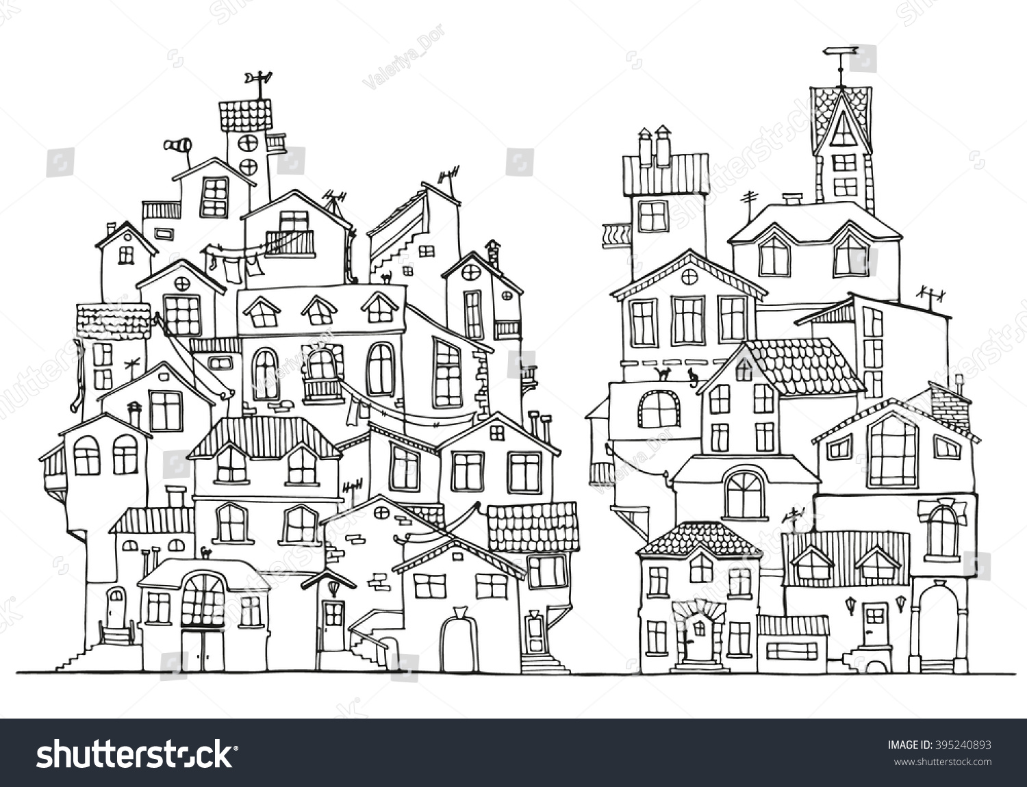 Hand Drawn Doodle Houses Black White Stock Vector 395240893 ...