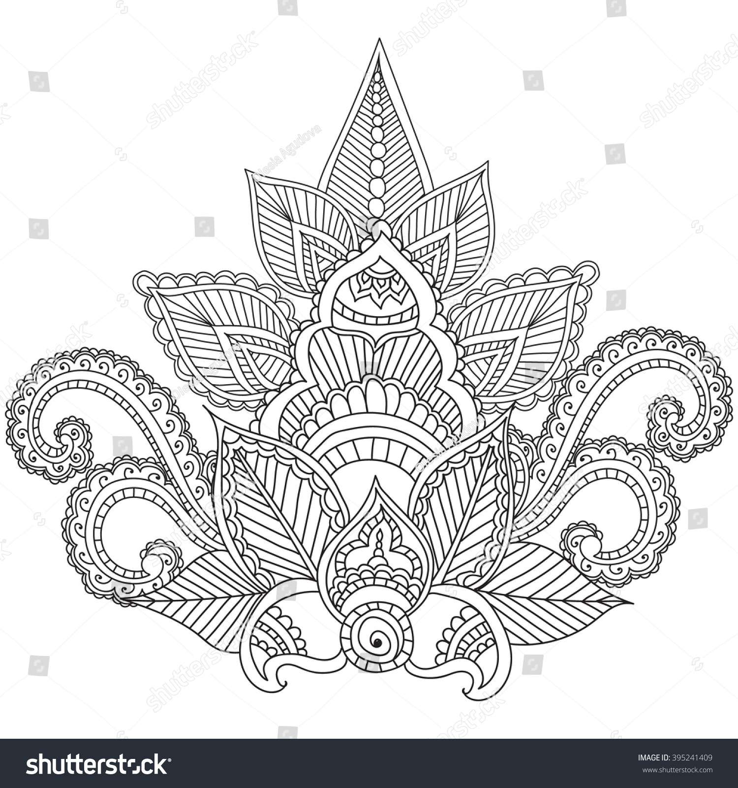 mehndi coloring pages - coloring pages adults henna mehndi doodles stock vector