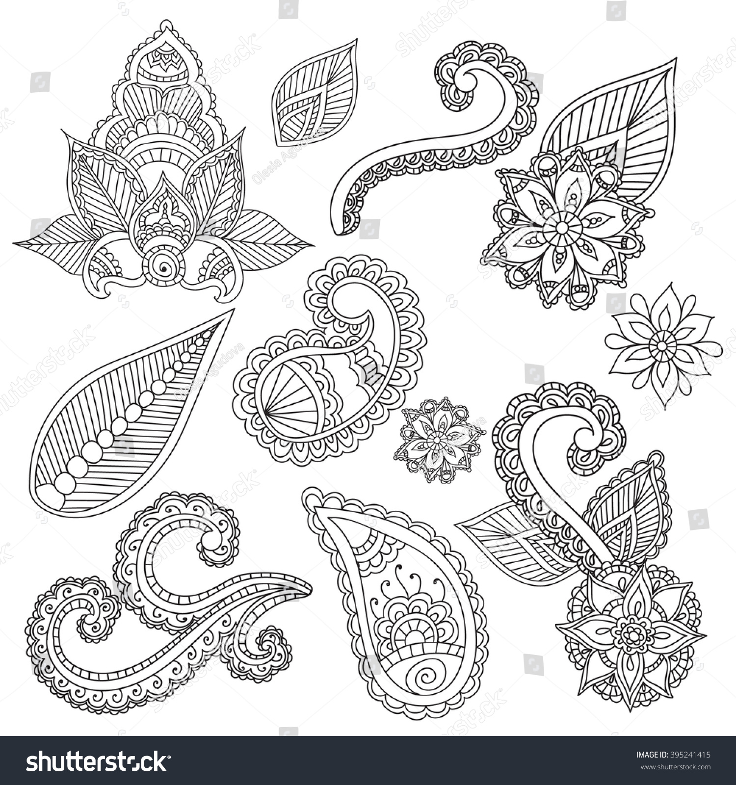 Coloring pages adults cet fo henna stock vector 395241415 for Henna coloring pages