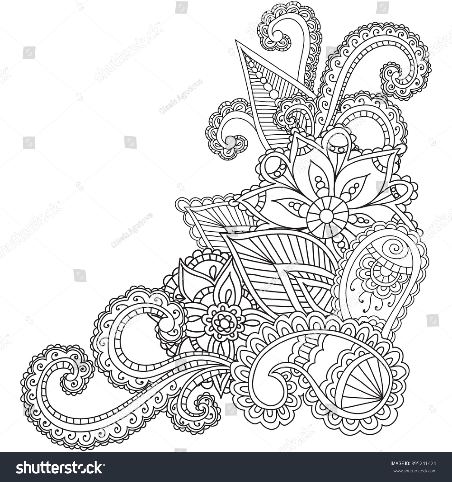 Coloring pages for adults abstract - Coloring Pages For Adults Henna Mehndi Doodles Abstract Floral Paisley Design Elements Mandala