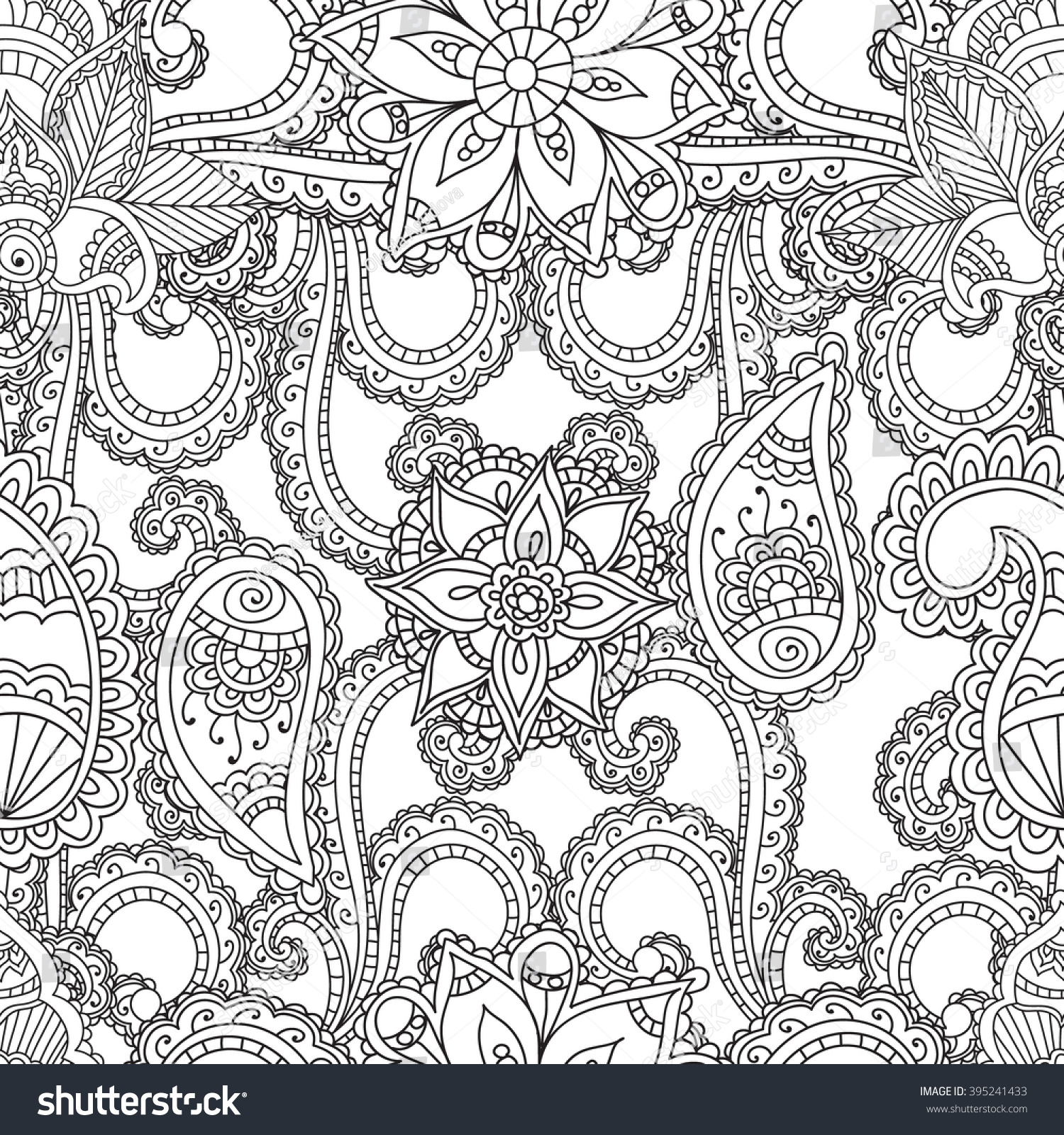 coloring pages for adults seanless patternhenna mehndi doodles abstract floral paisley design elements - Royalty Free Coloring Pages