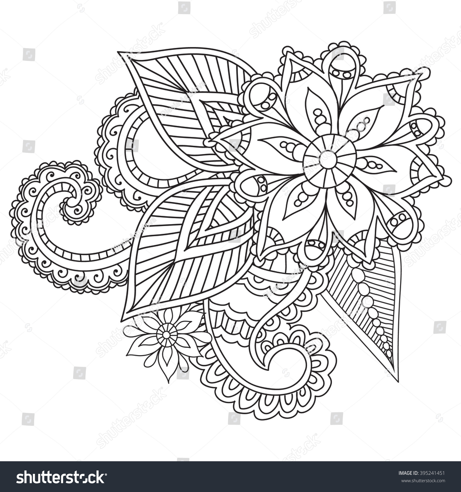 Coloring pages adults henna mehndi doodles stock vector for Henna coloring pages