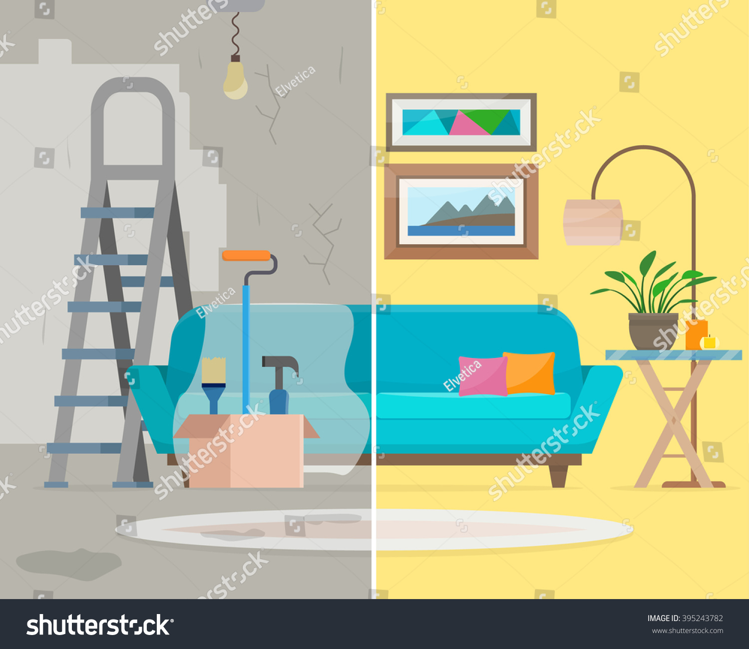 room before after repair home interior stock vector 395243782