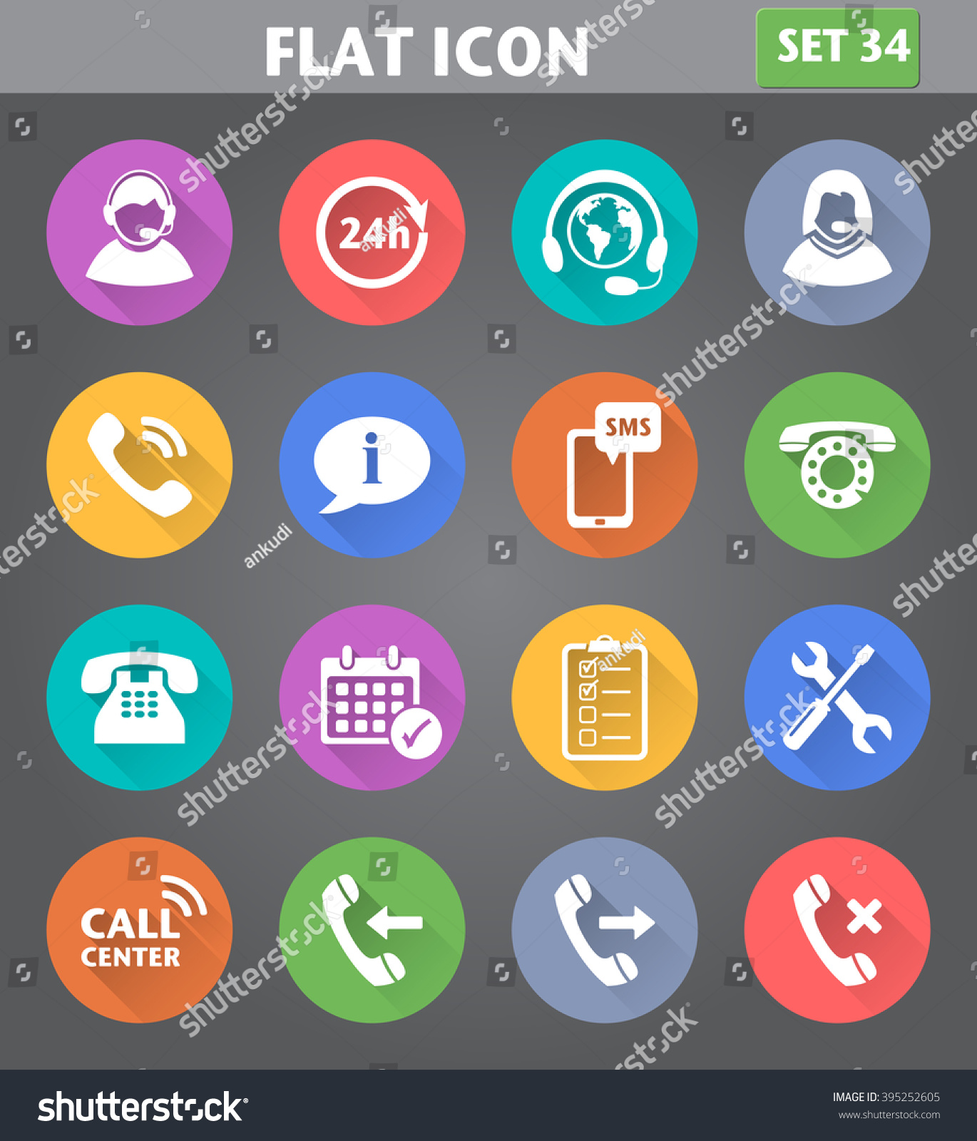 Vector Application Call Center Service Icons Set In Flat Style ...