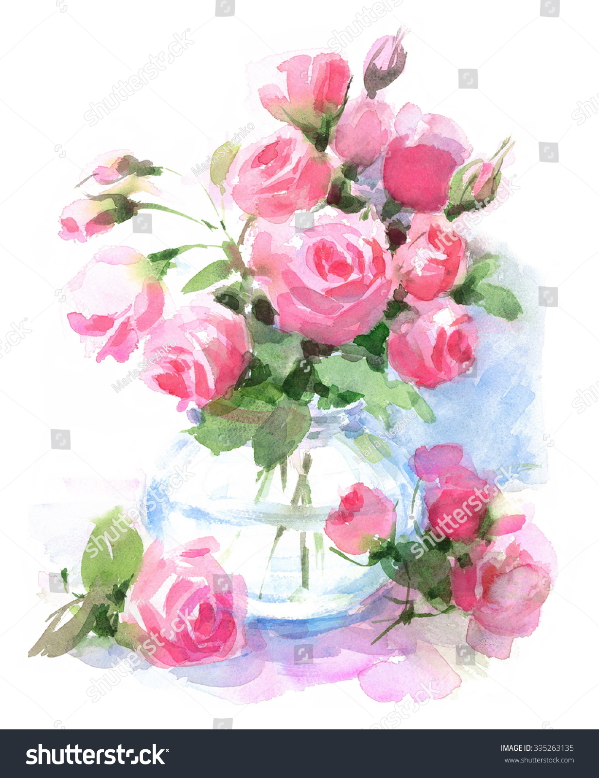 Watercolor roses flowers vase floral hand stock illustration watercolor roses flowers in a vase floral hand painted illustration isolated on white background floridaeventfo Images