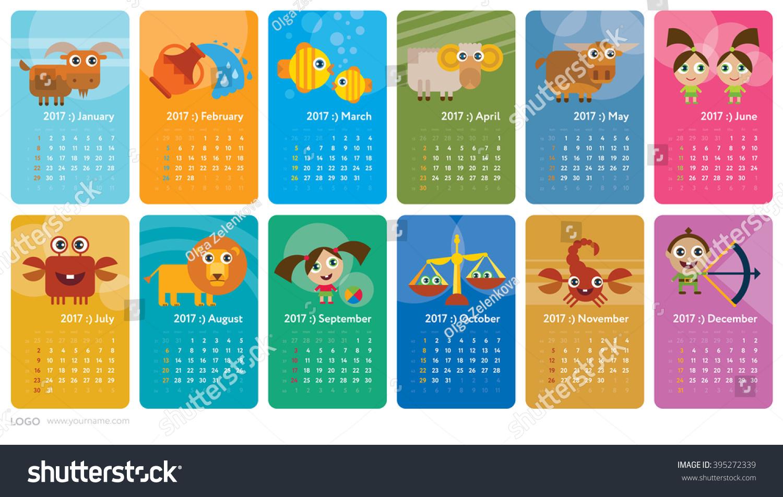 Creative Calendar 2017 Horoscope Signs Zodiac Vector – Zodiac Calendar Template