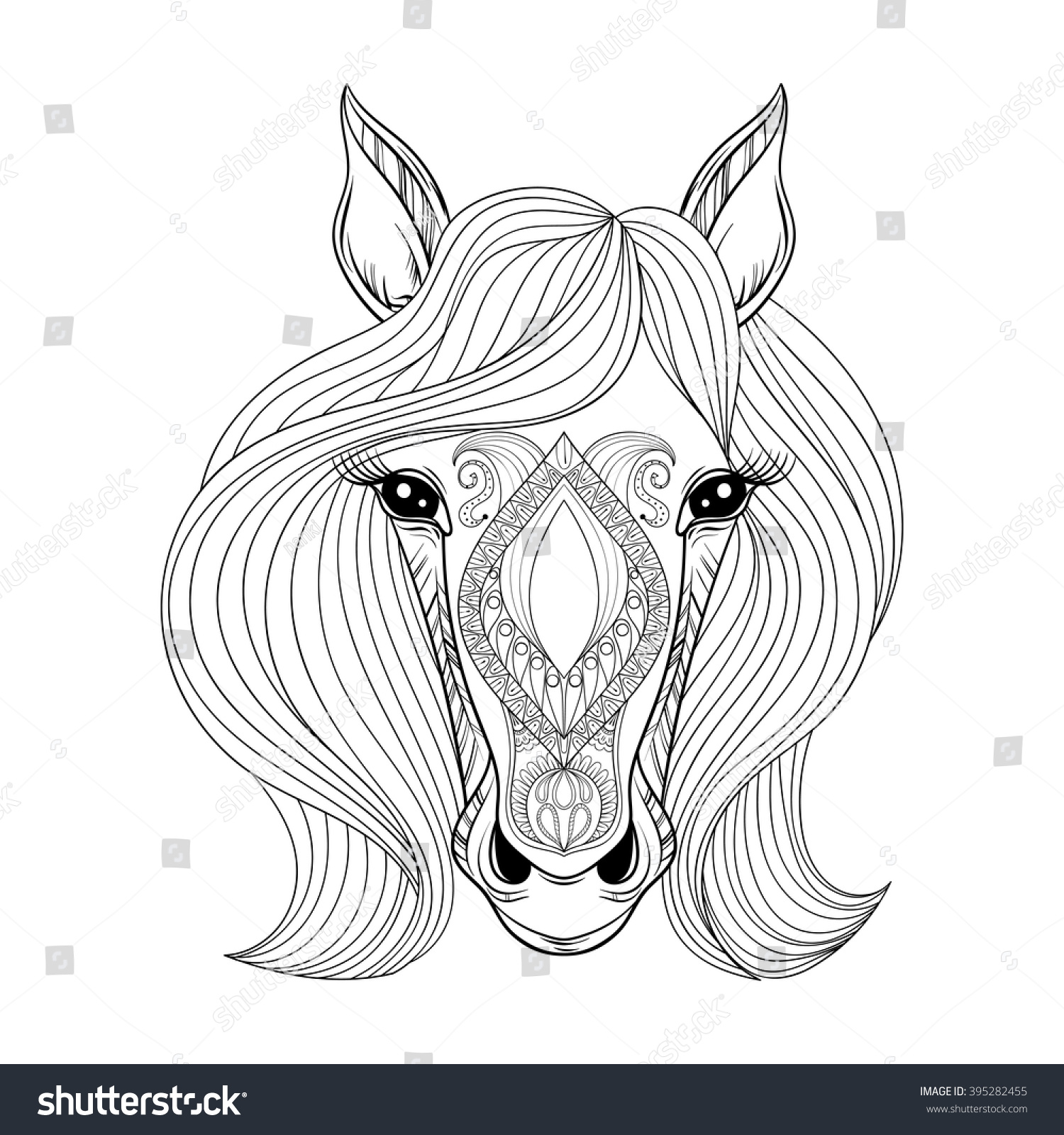 Unicorn face coloring page - Coloring Page With Zentangle Horse Face Hand Drawn Patterned Horse Head With