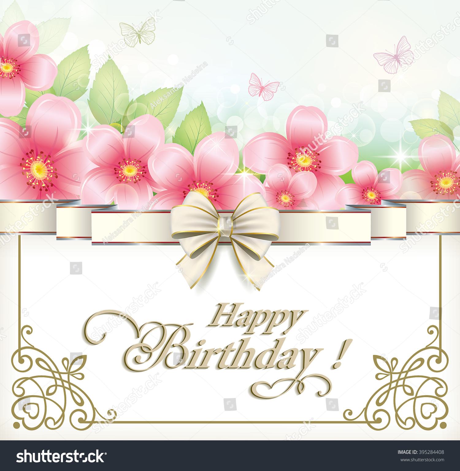 Greeting Card Happy Birthday Flowers Frame Stock Vector