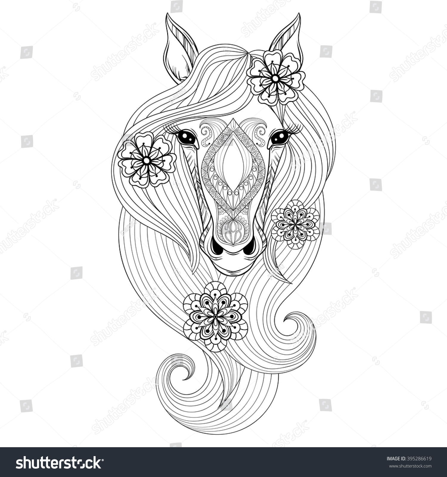Vector Horse Coloring Page Face Stock
