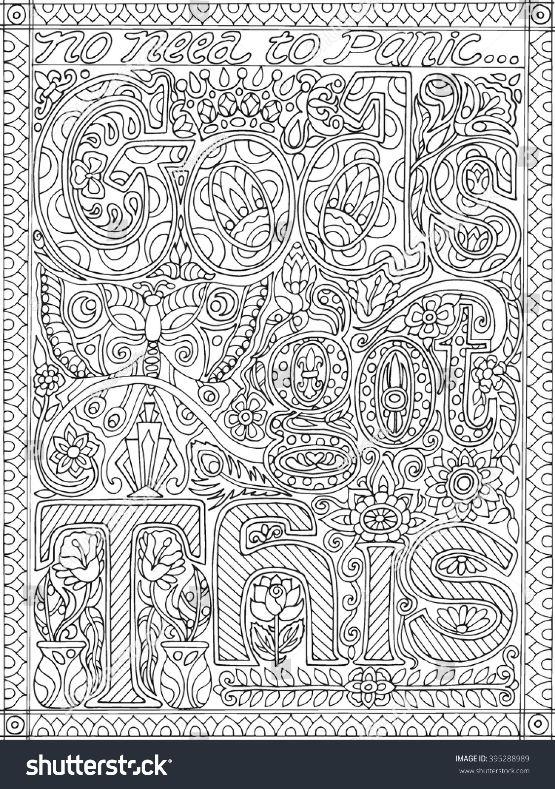 gods got this coloring book stock vector 395288989