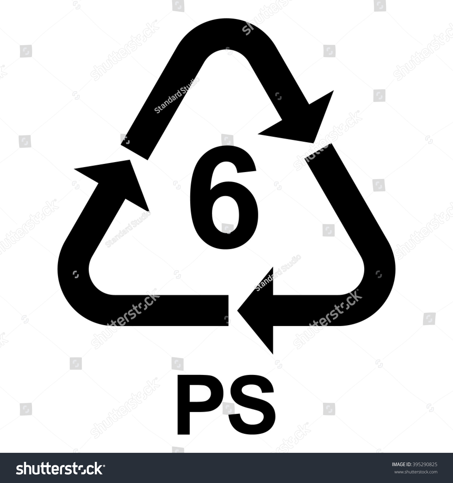 Plastic Recycling Symbol Ps 6 Plastic Stock Vector Royalty Free