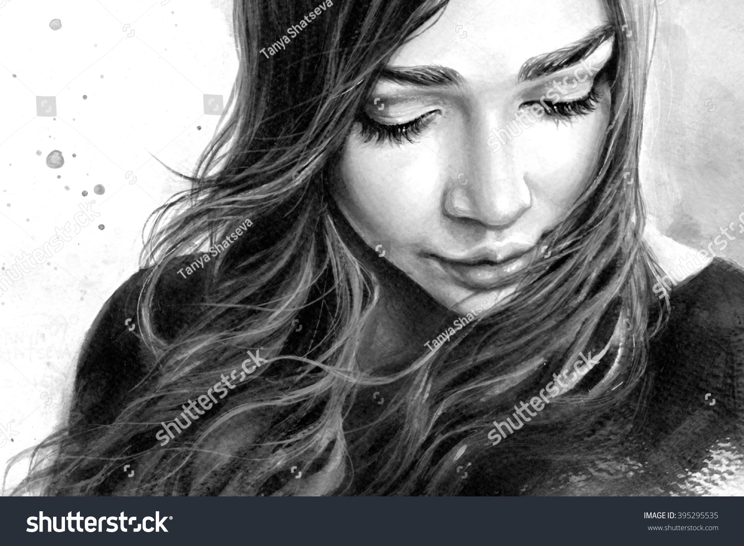 Black and white portrait of a young beautiful girl with long hair looking down with a