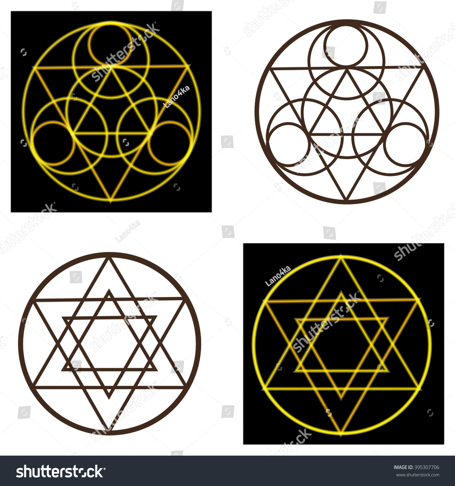 Set Occult Symbols Pentacles Pentacles On Stock Vector Royalty Free