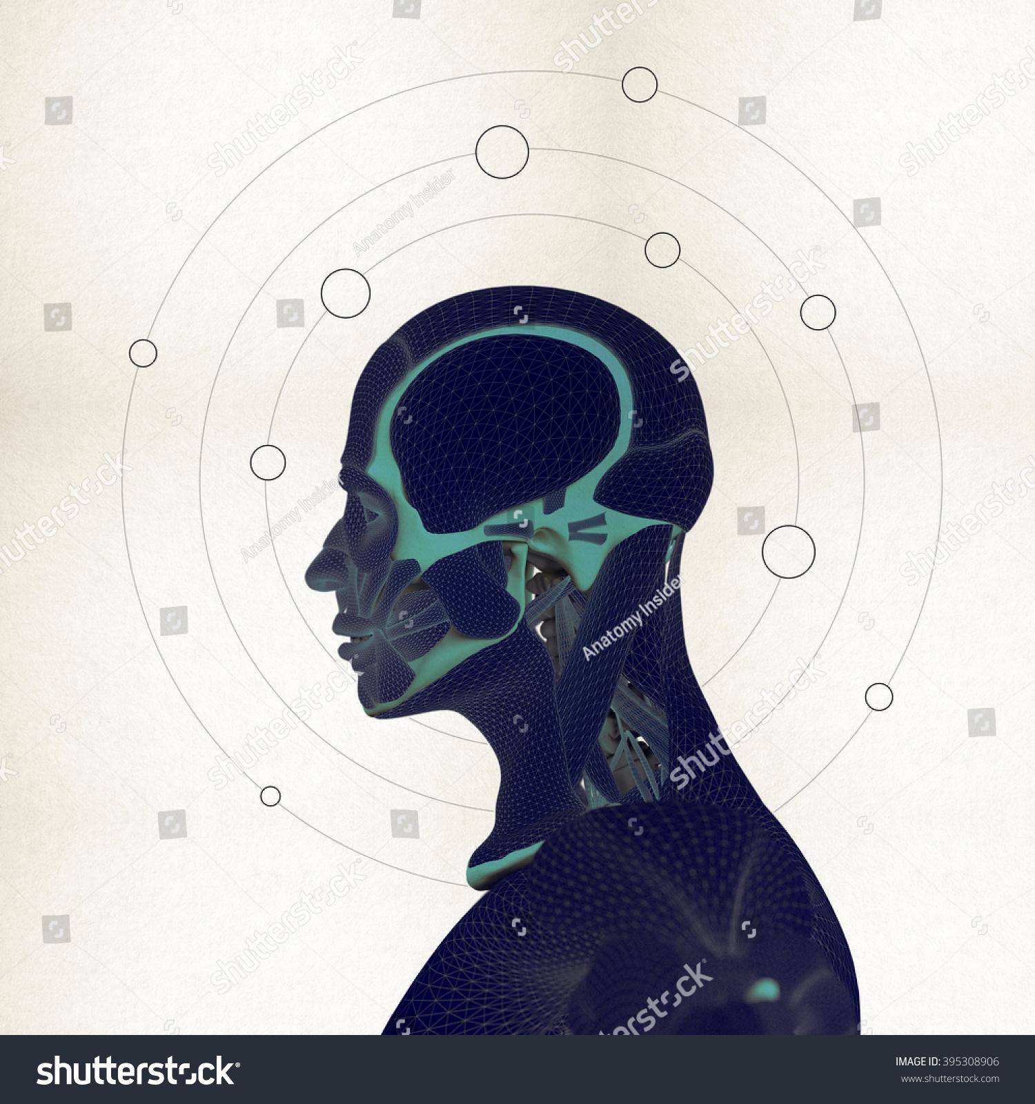 Human Anatomy Brain Planets Thought Orbit Stock Illustration ...
