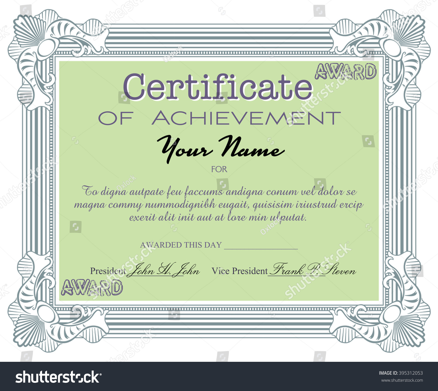 isolated certificate with the text certificate of achievement written with various letters certificate sample