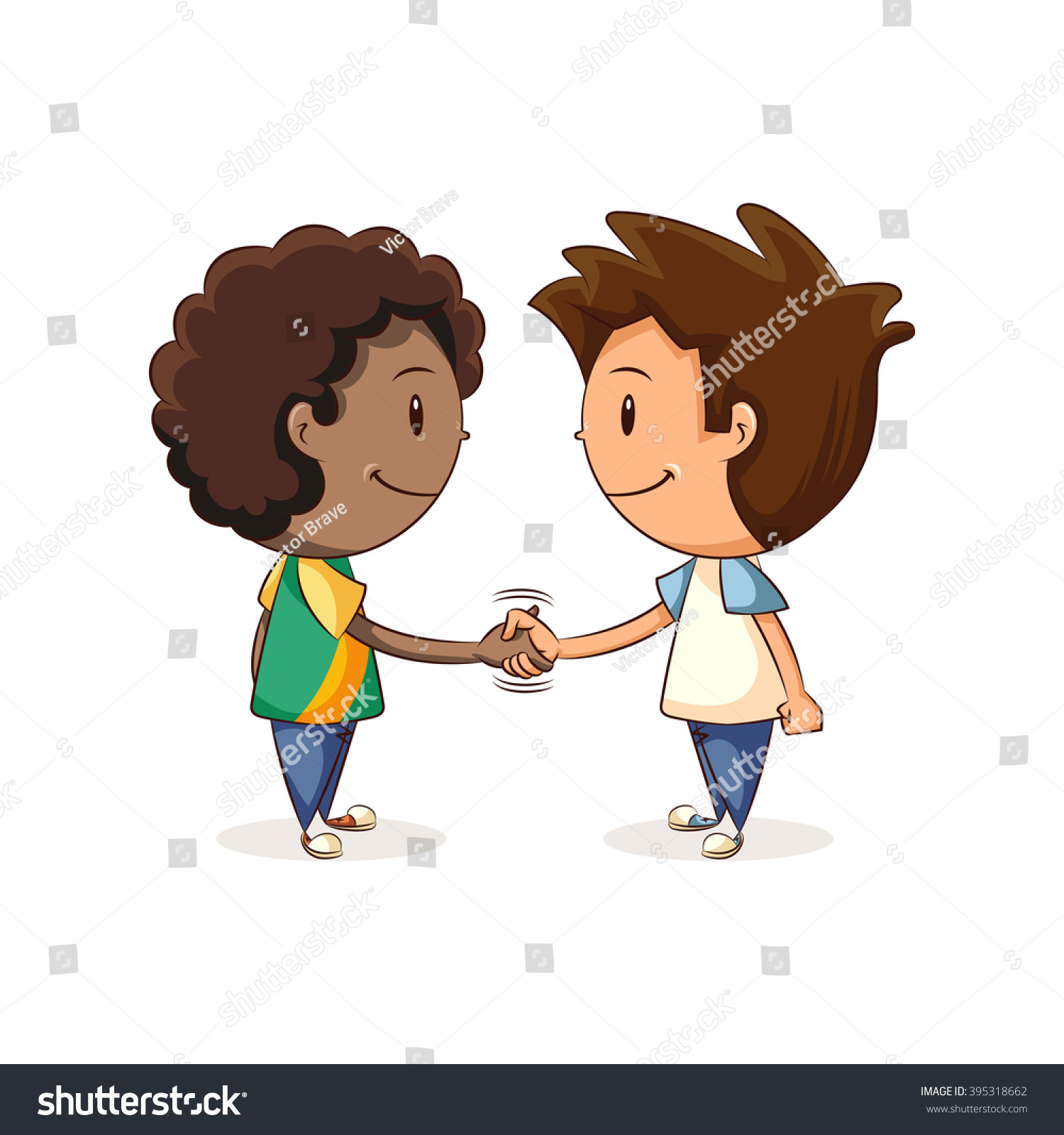 Handshake Children Vector Illustration Stock Vector ...