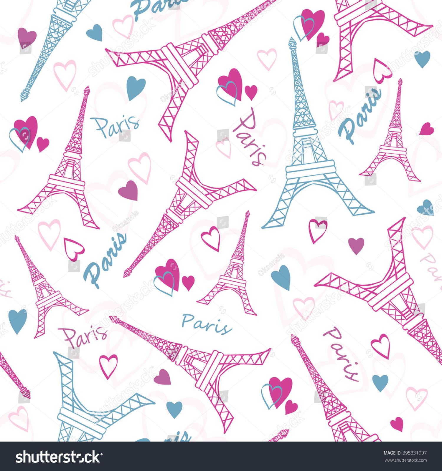 As Creation Pink Paris Pattern Eiffel Tower Childrens: Vector Eiffel Tower Paris Love Pink Stock Vector 395331997
