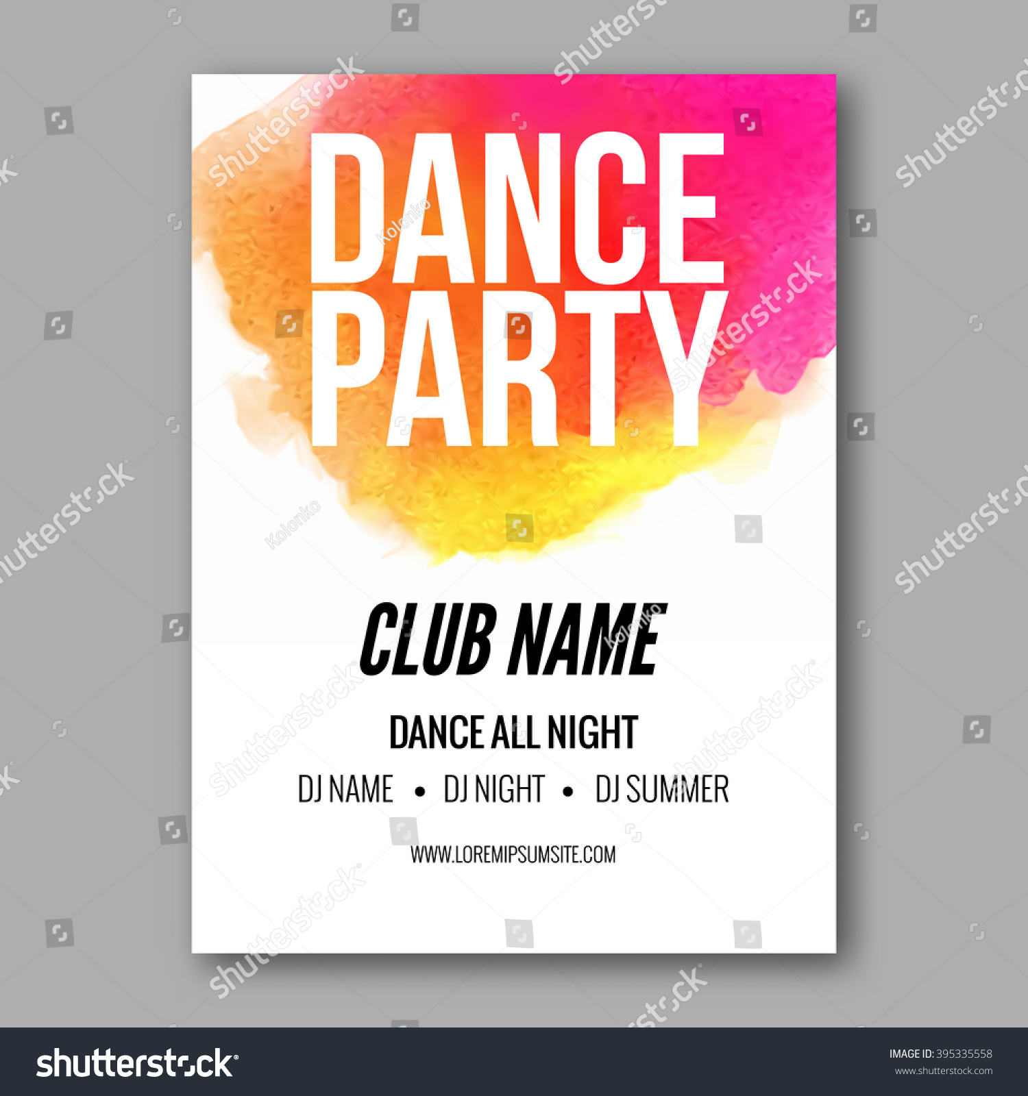 Dance Party Poster Template. Night Dance Party flyer. DJ session ...