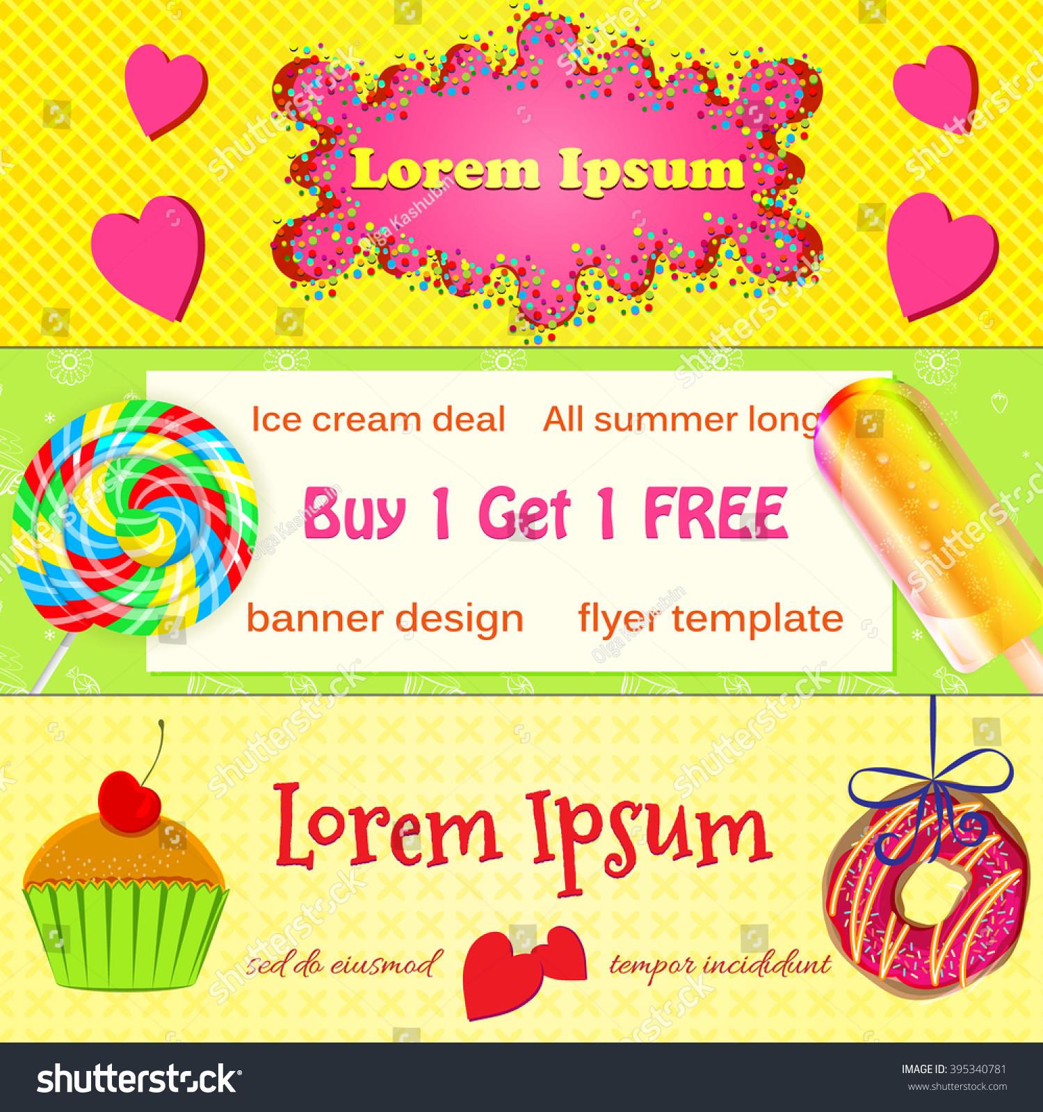 set vector bakery banners advertisement flyers stock vector set of vector bakery banners advertisement flyers colourful bakery donut ice cream