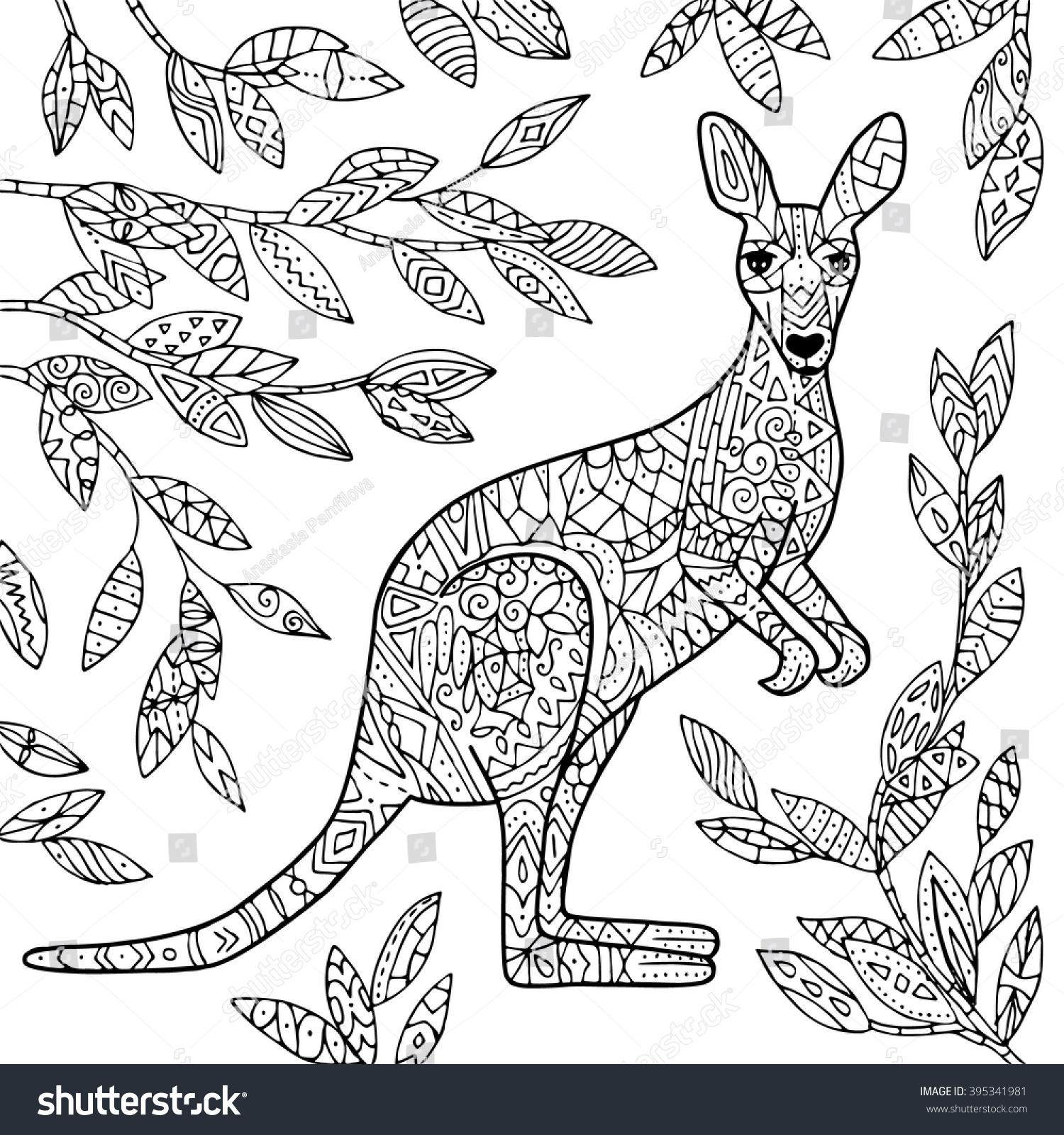 Free coloring pages kangaroo - Vector Kangaroo Illustration Adult Coloring Page