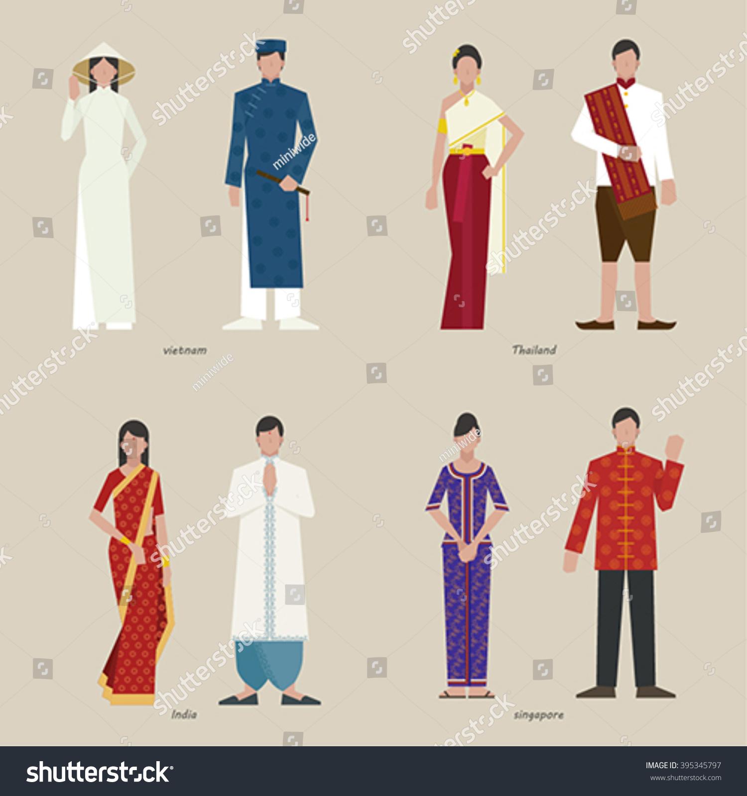 Character Design Job Singapore : Traditional clothing vietnam india singapore thailand