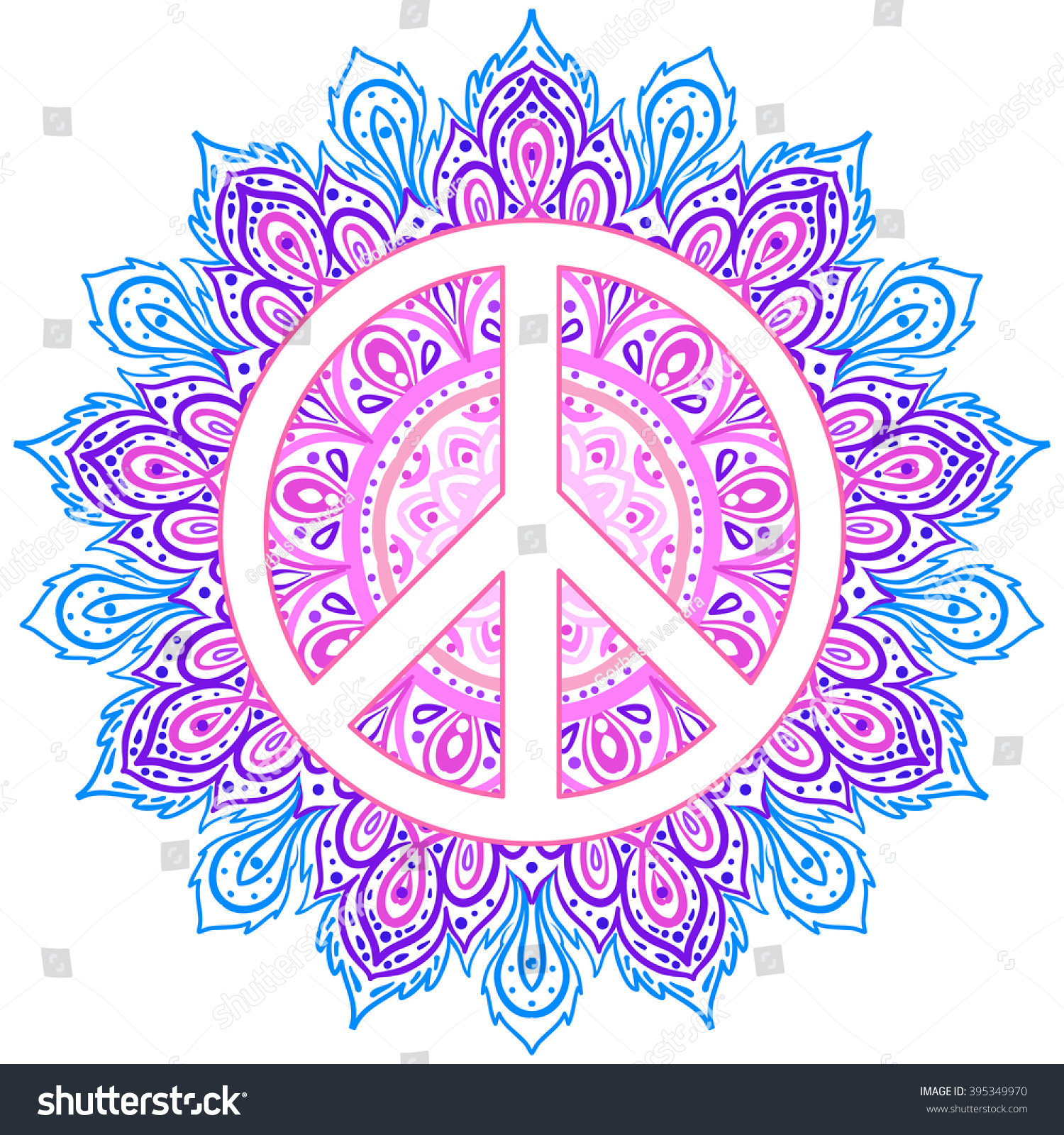 Peace symbol over decorative ornate background stock for Peace sign mandala coloring pages