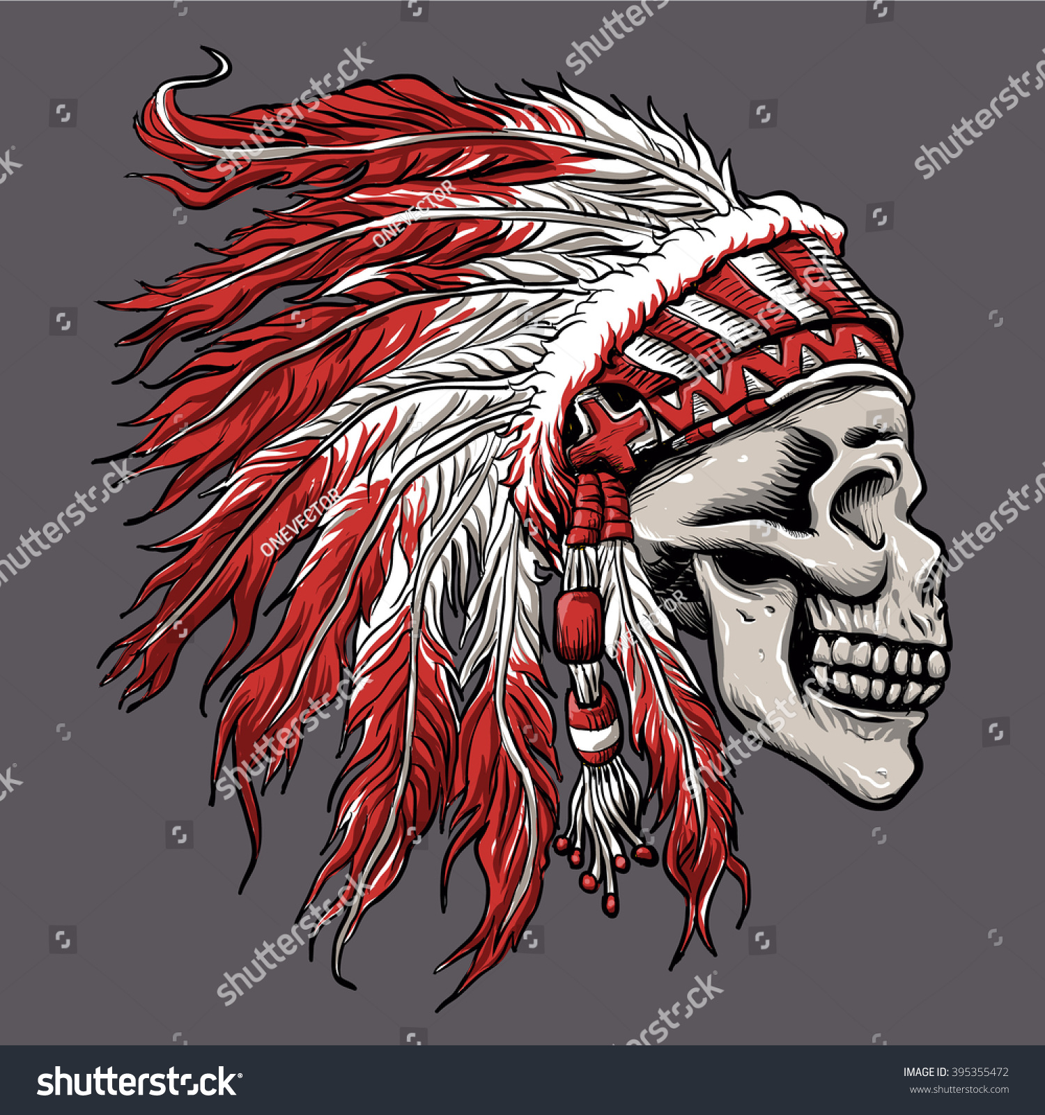 Skull Indian Chief In Hand Drawing Stock Vector 395355472