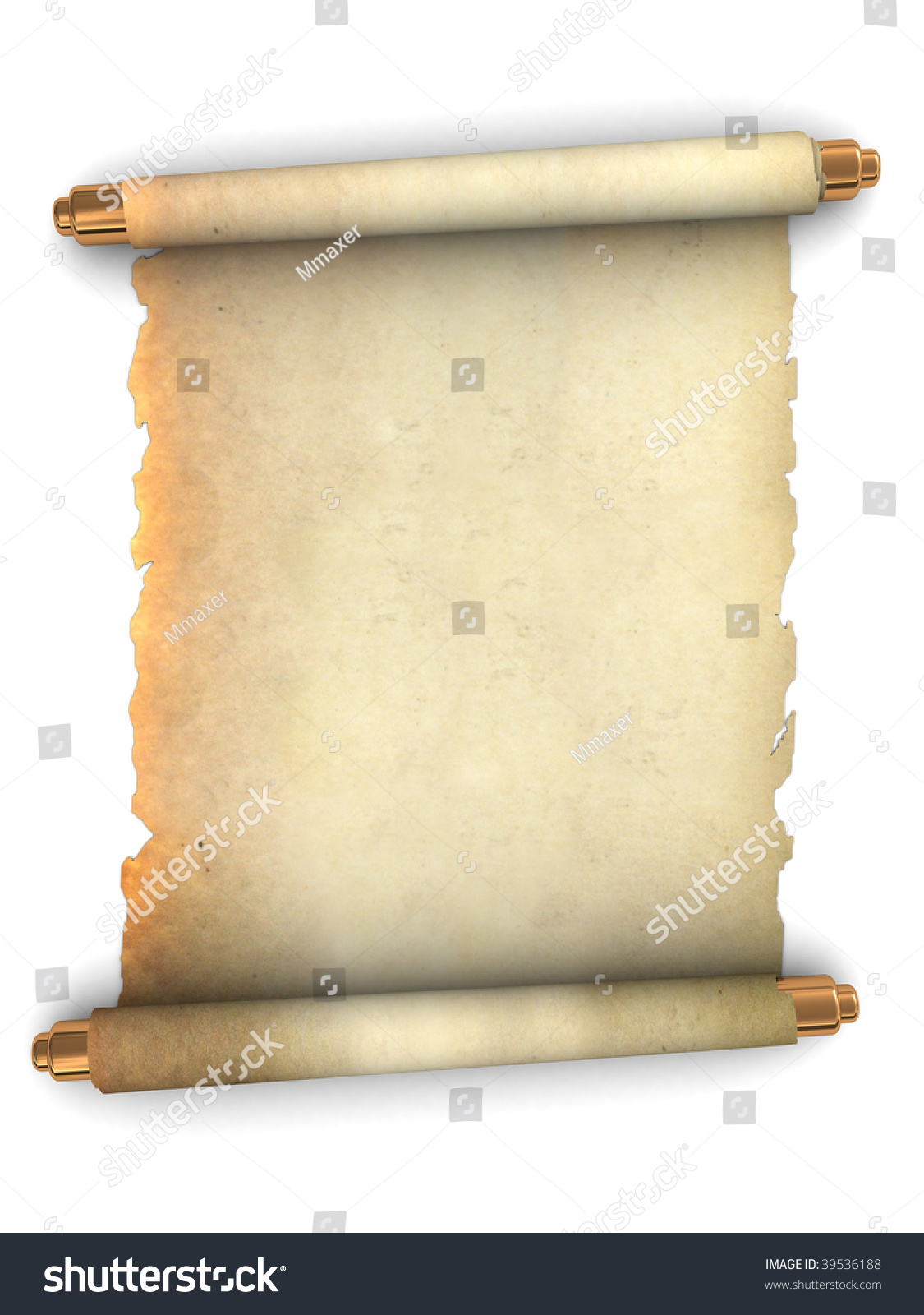 3d Scroll Of Parchment Photo: 3d Illustration Of An Ancient Paper Scroll Over White