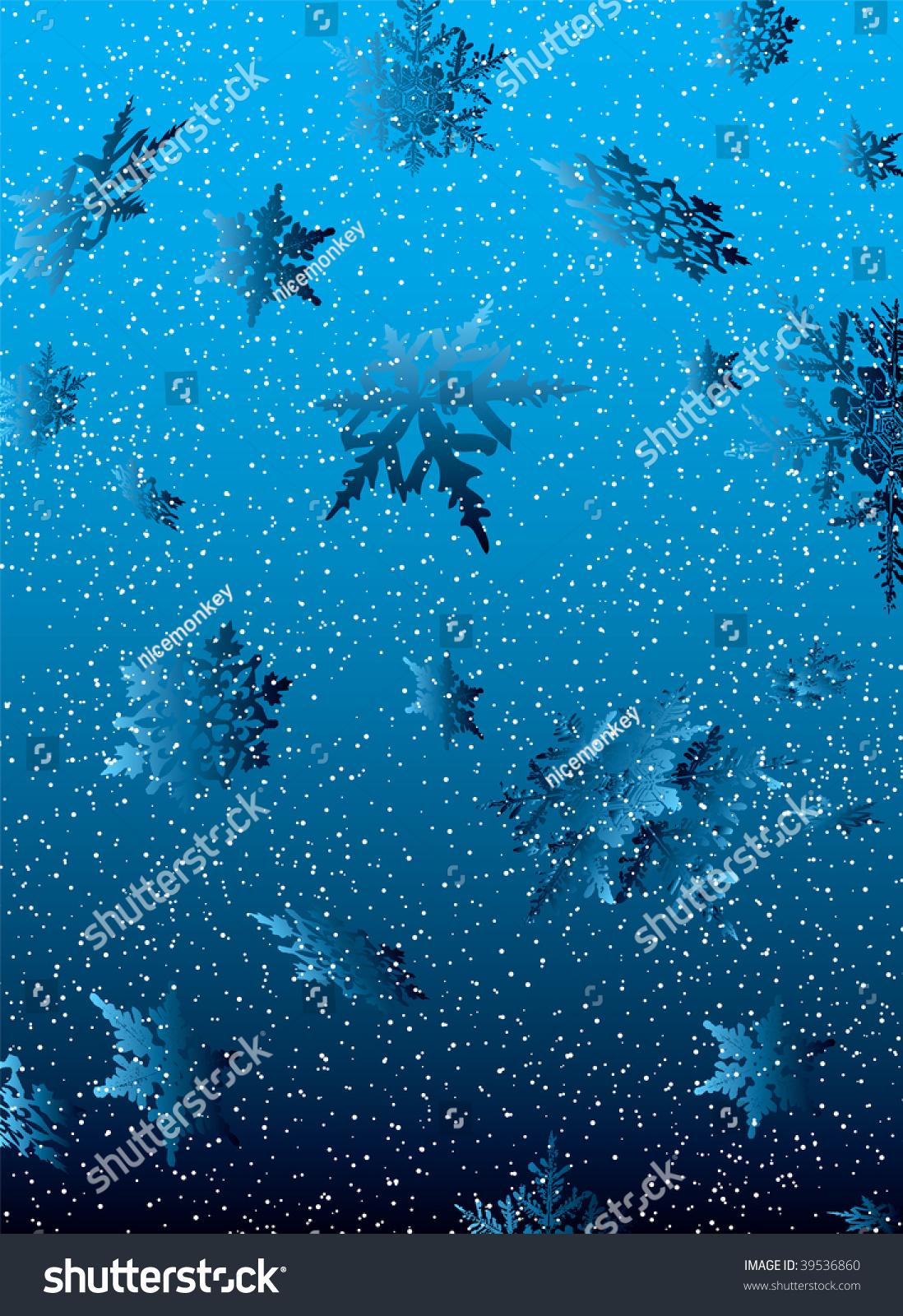 Blue White Snowfall Background Winter Sky Stock Vector