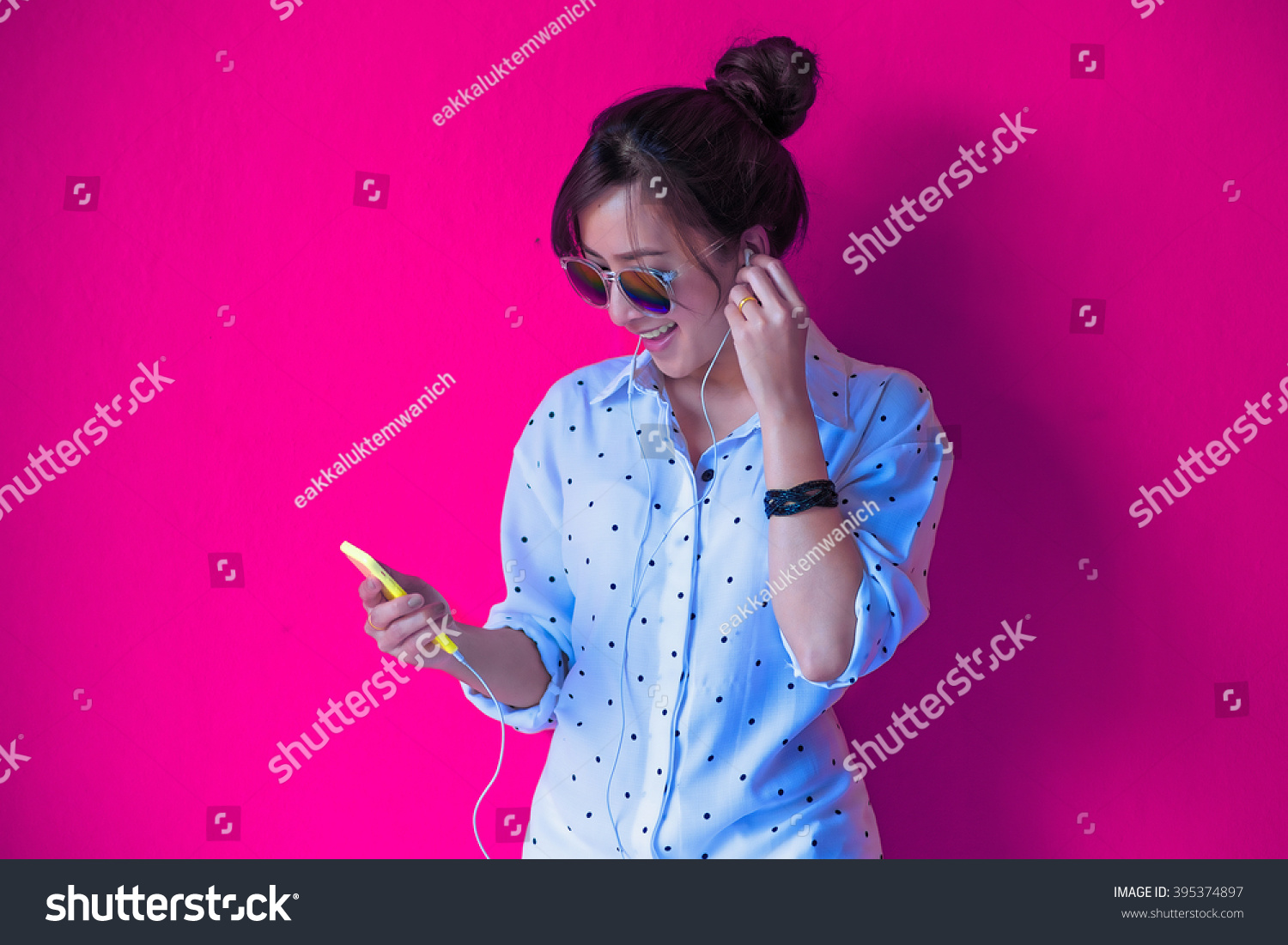 Young Hipster Stylish Beautiful Girl Listening Stock Photo
