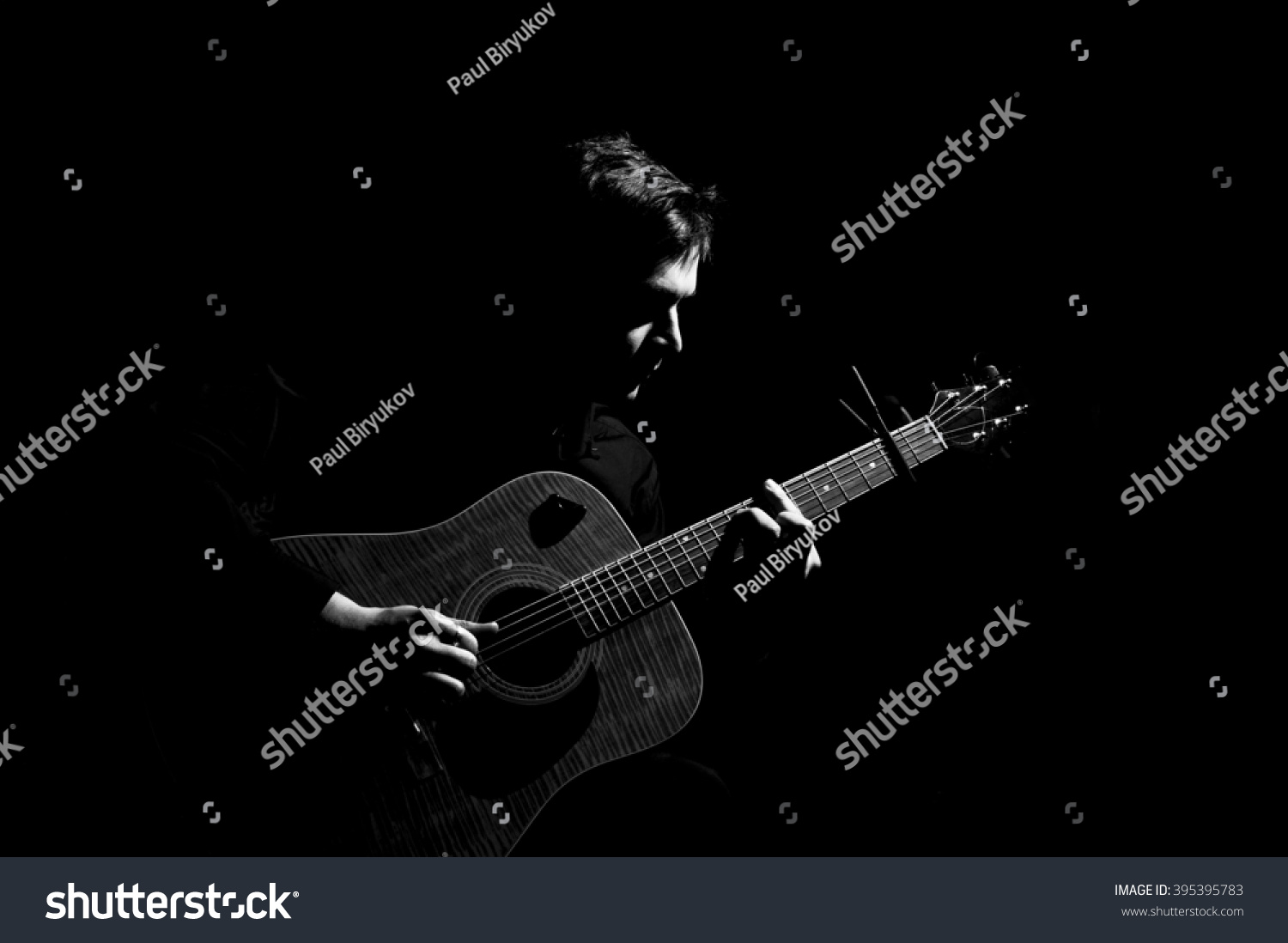 Male Musician Playing On Acoustic Guitar Stock Photo ...