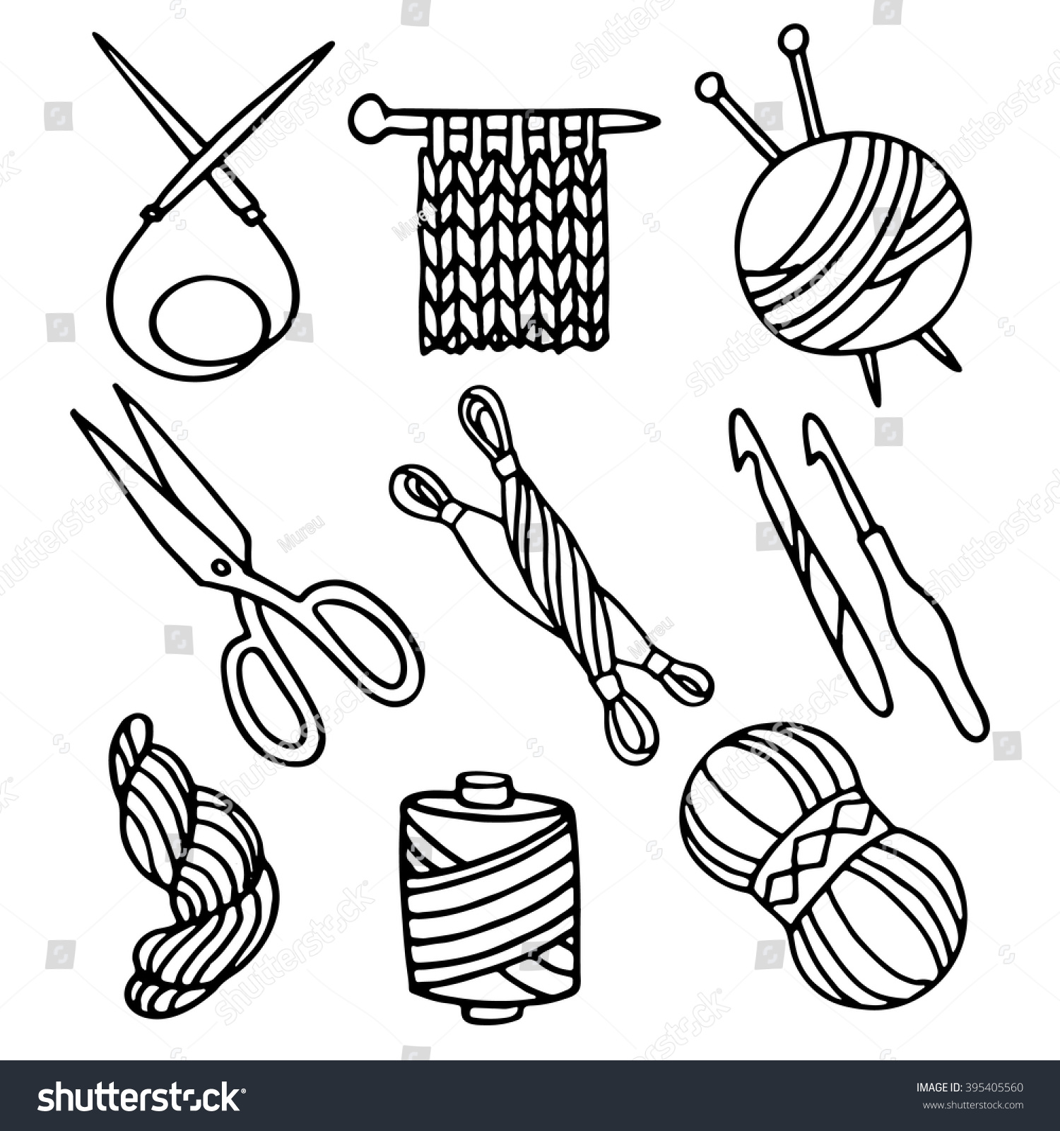 knitting crochet set simple contour drawings stock vector