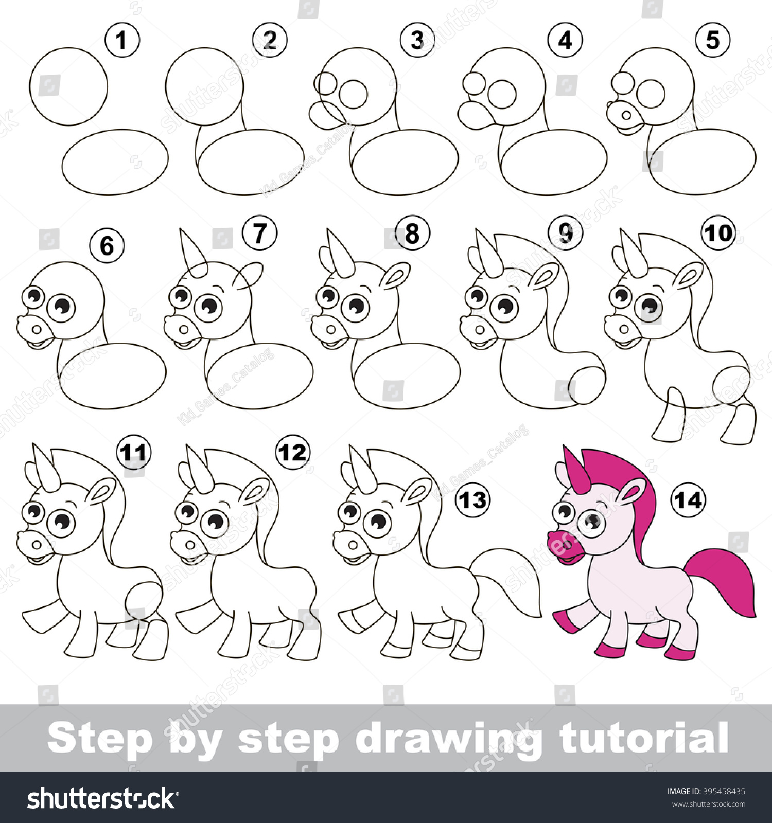 drawing tutorial children how draw funny stock vector royalty free