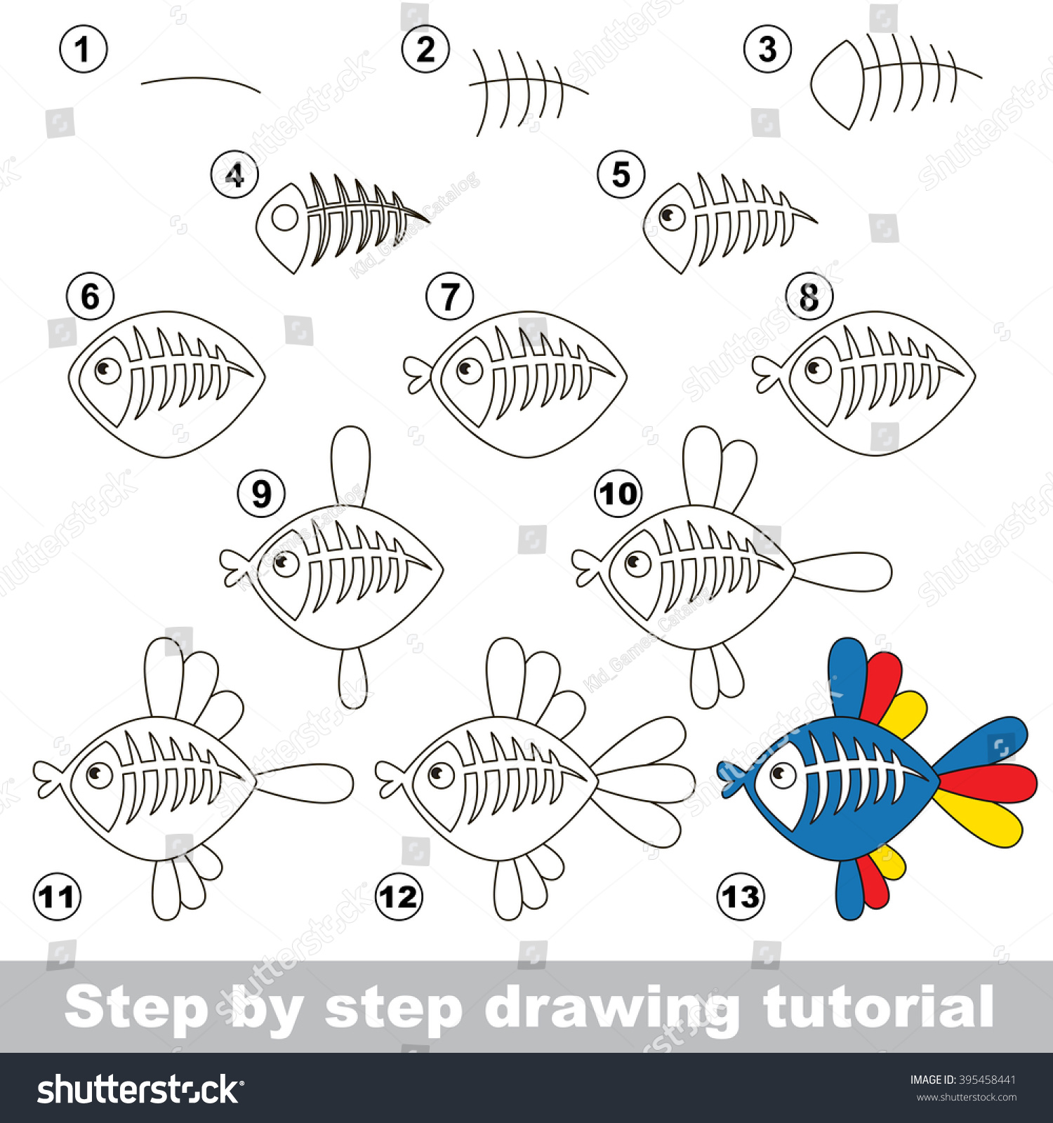 drawing tutorial children how draw funny stock vector 395458441