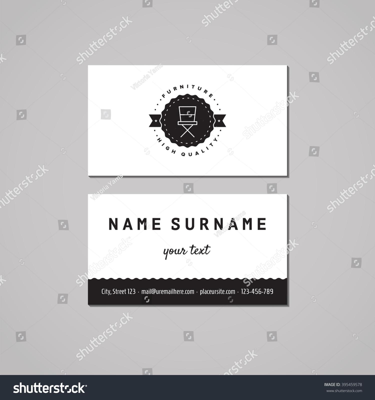 furniture business card design concept logo stock vector 395459578