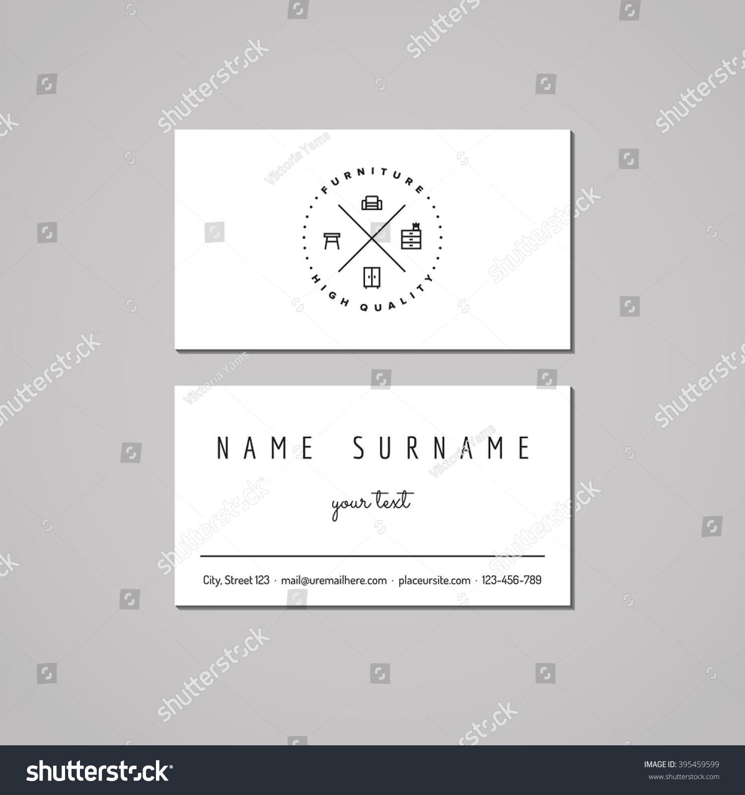Furniture Business Card Design Concept Furniture Stock Vector ...