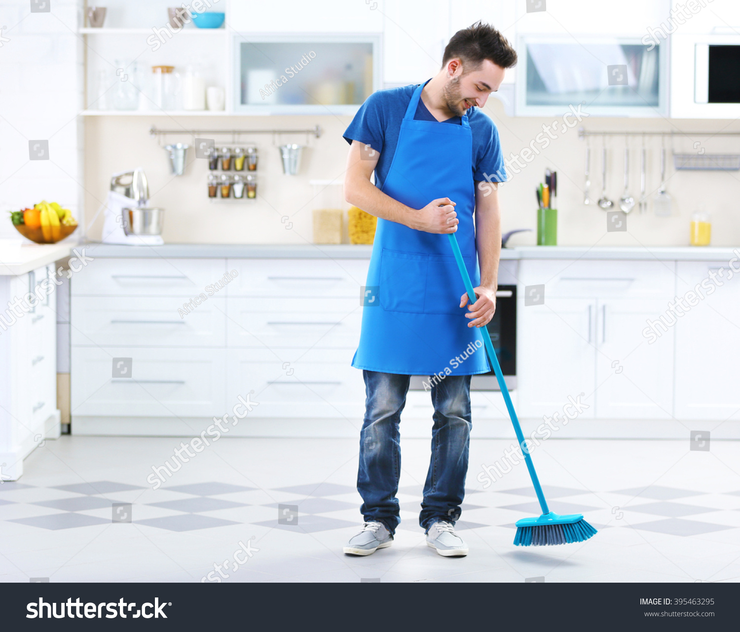 Kitchen Floor Vacuum Man Sweeping Floor Kitchen Stock Photo 395463295 Shutterstock