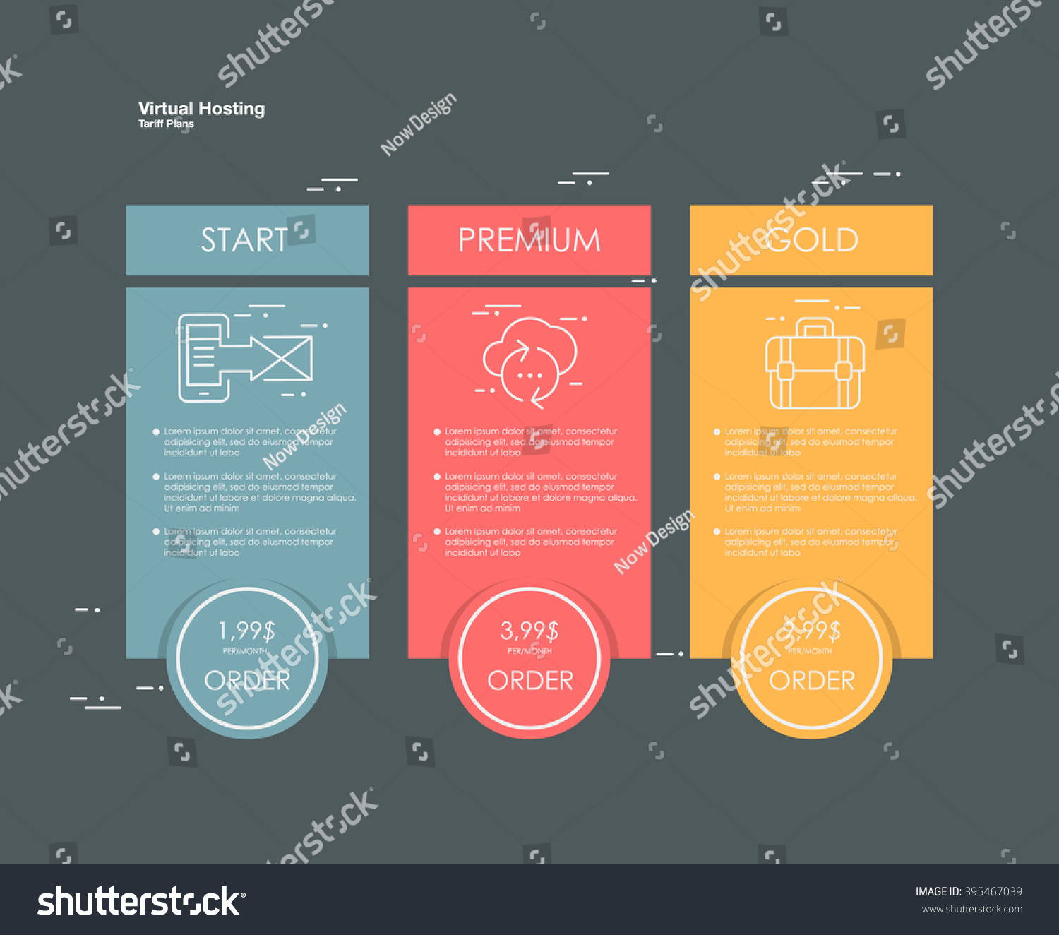 Price List Hosting Plans Web Boxes Stock Vector 395467039 ...