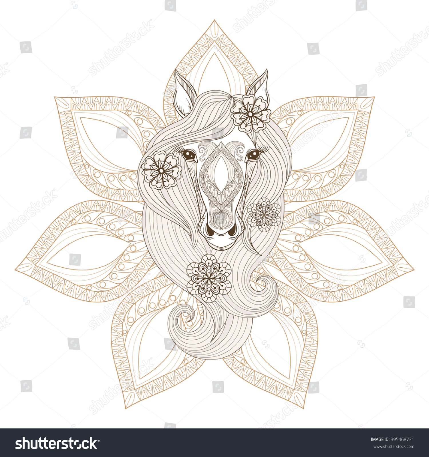 Horse Head Coloring Page #5