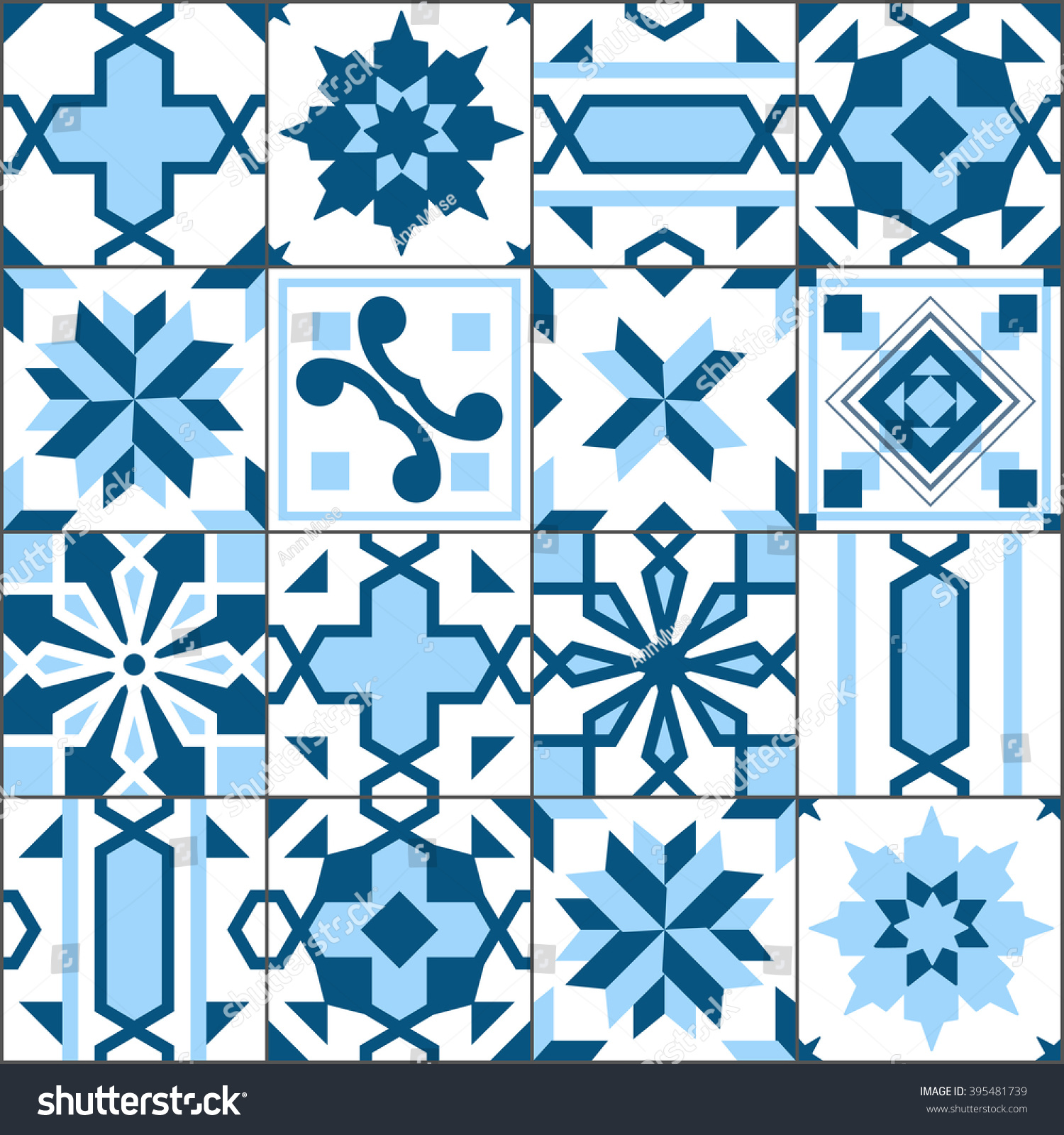 Vector Seamless Patchwork Tiles Floor Pattern Stock Vector 395481739 ...