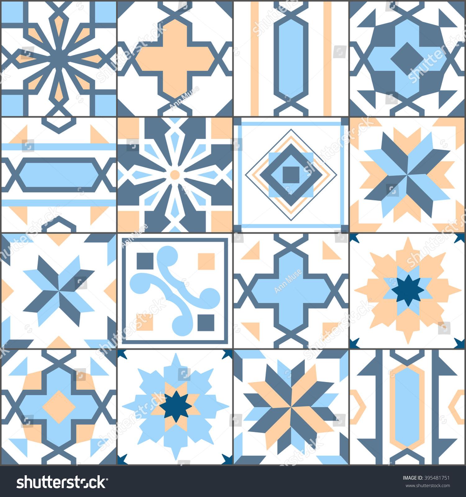 Vector Seamless Patchwork Tiles Floor Pattern Stock Vector (Royalty ...