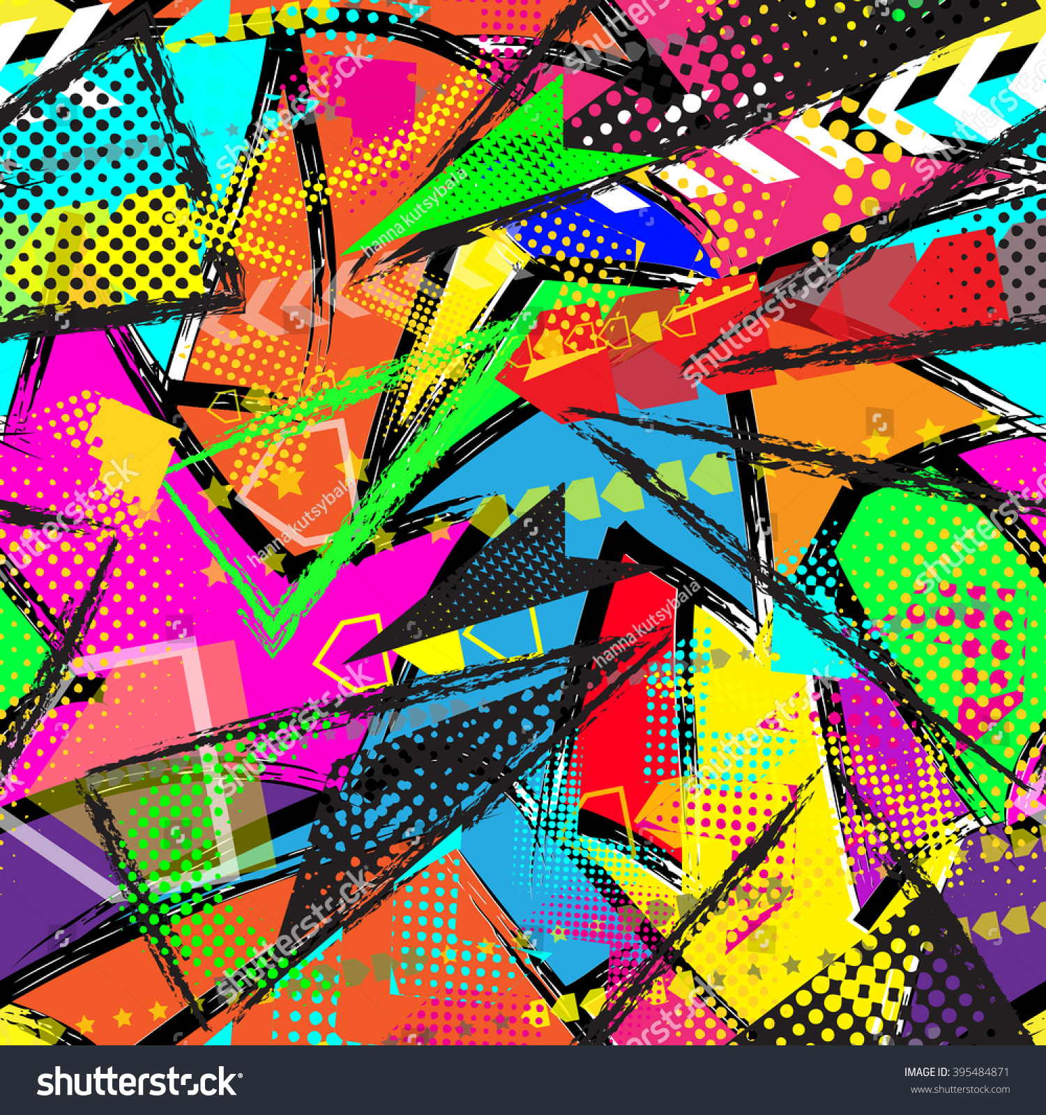 Abstract Seamless Pattern Textile Wallpaper Neon Stock